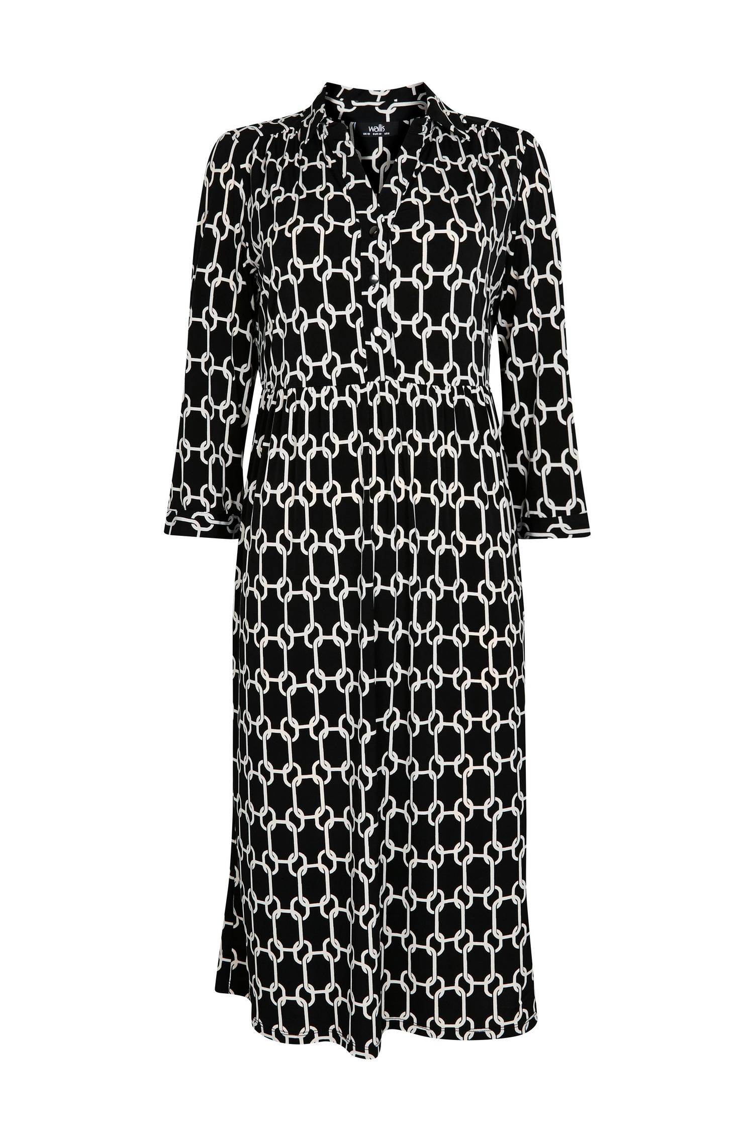 585 Monochrome Chain Print Shirt Dress image number 4