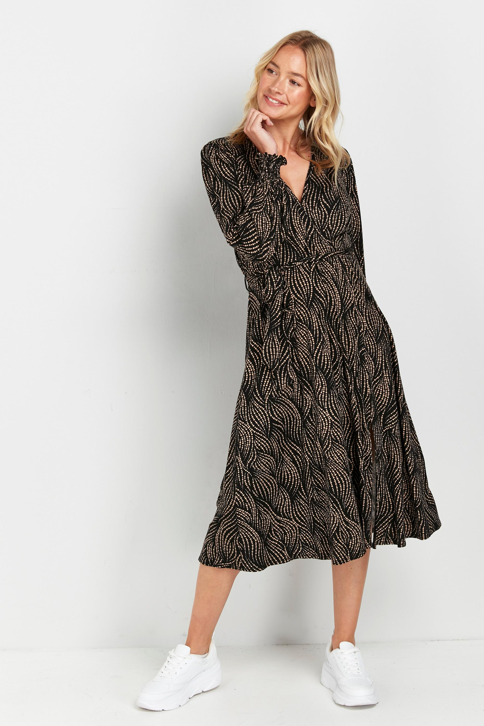 Black Abstract Spot Print Midi Dress