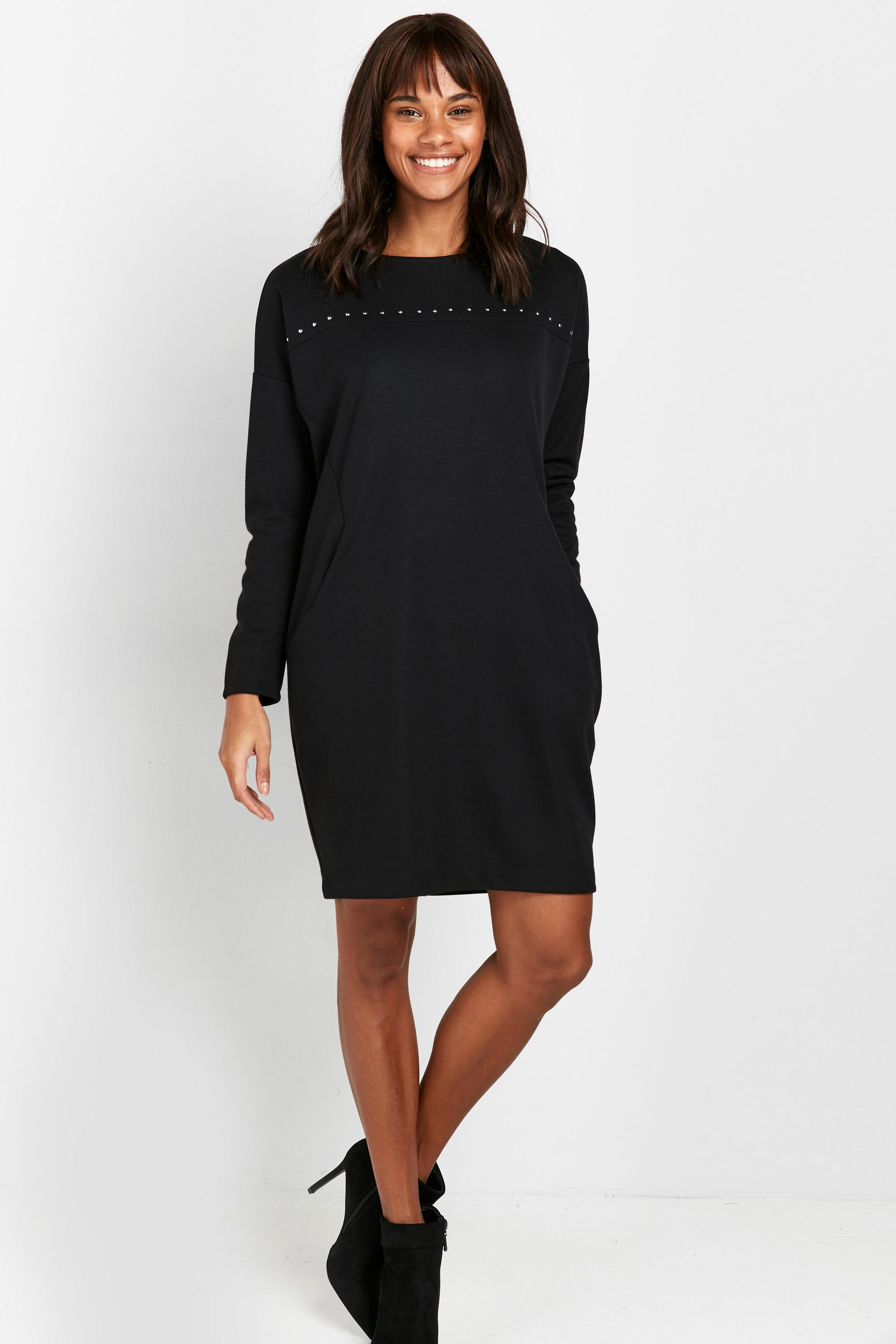 Black Studded Jersey Dress