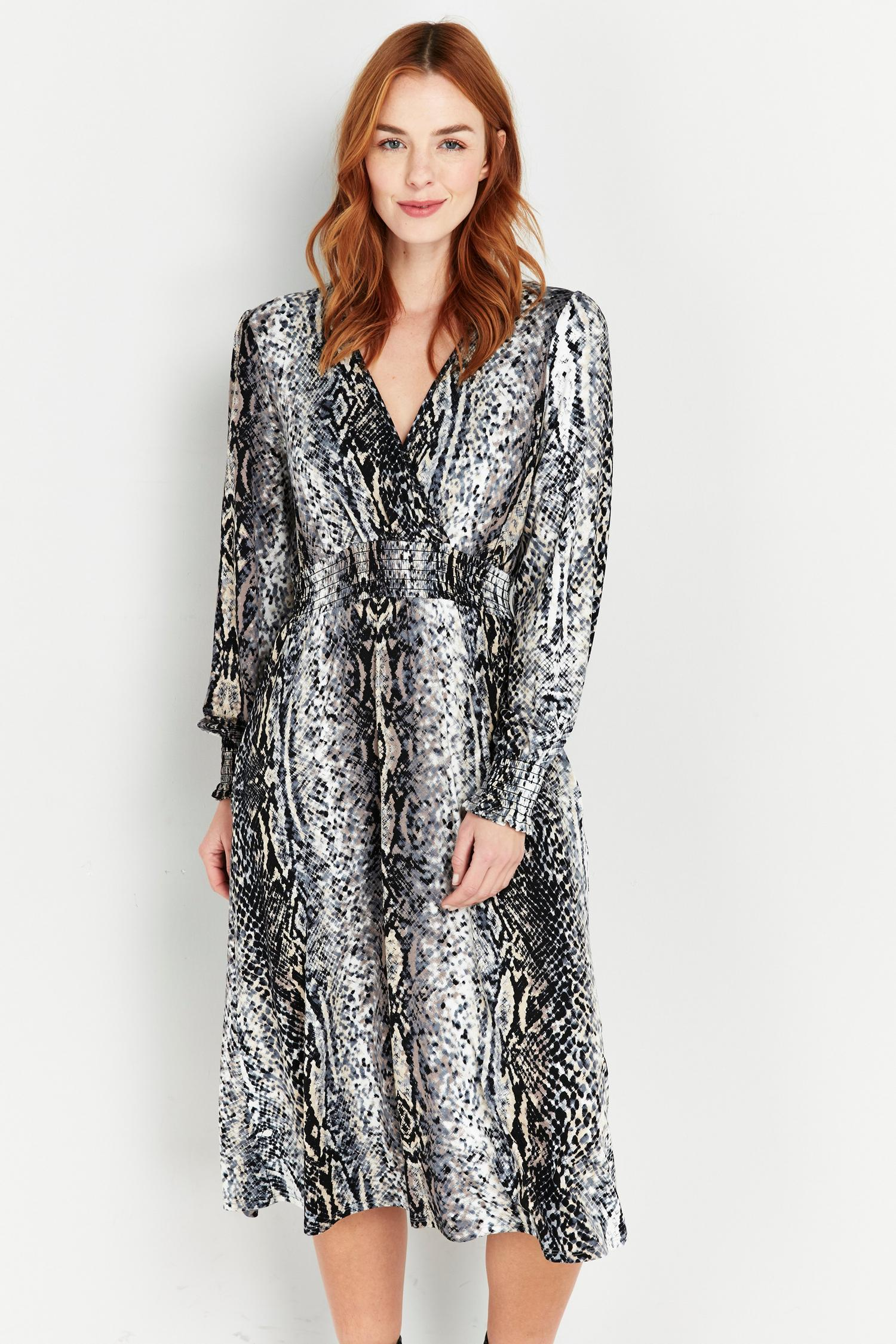 131 Grey Snake Print Wrap Dress image number 1