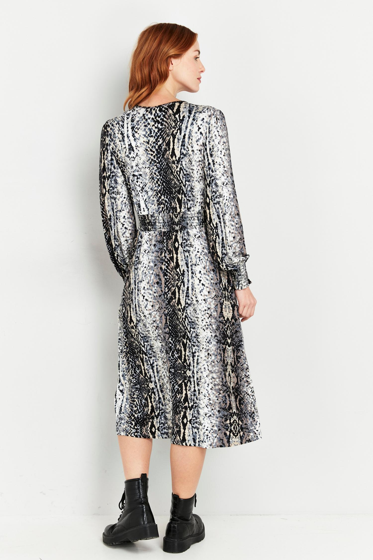 131 Grey Snake Print Wrap Dress image number 2