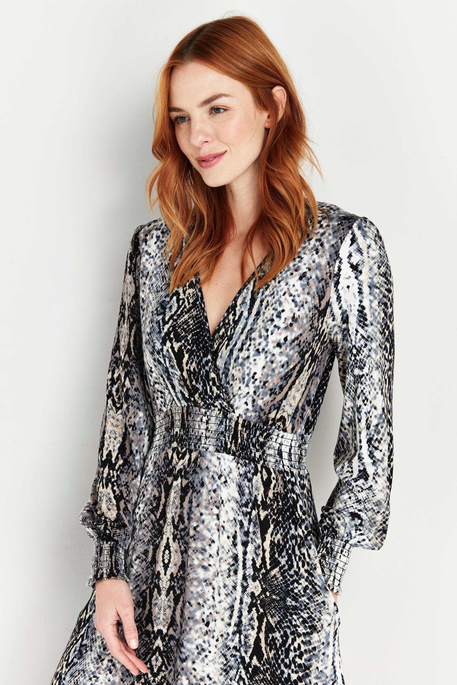 131 Grey Snake Print Wrap Dress image number 3