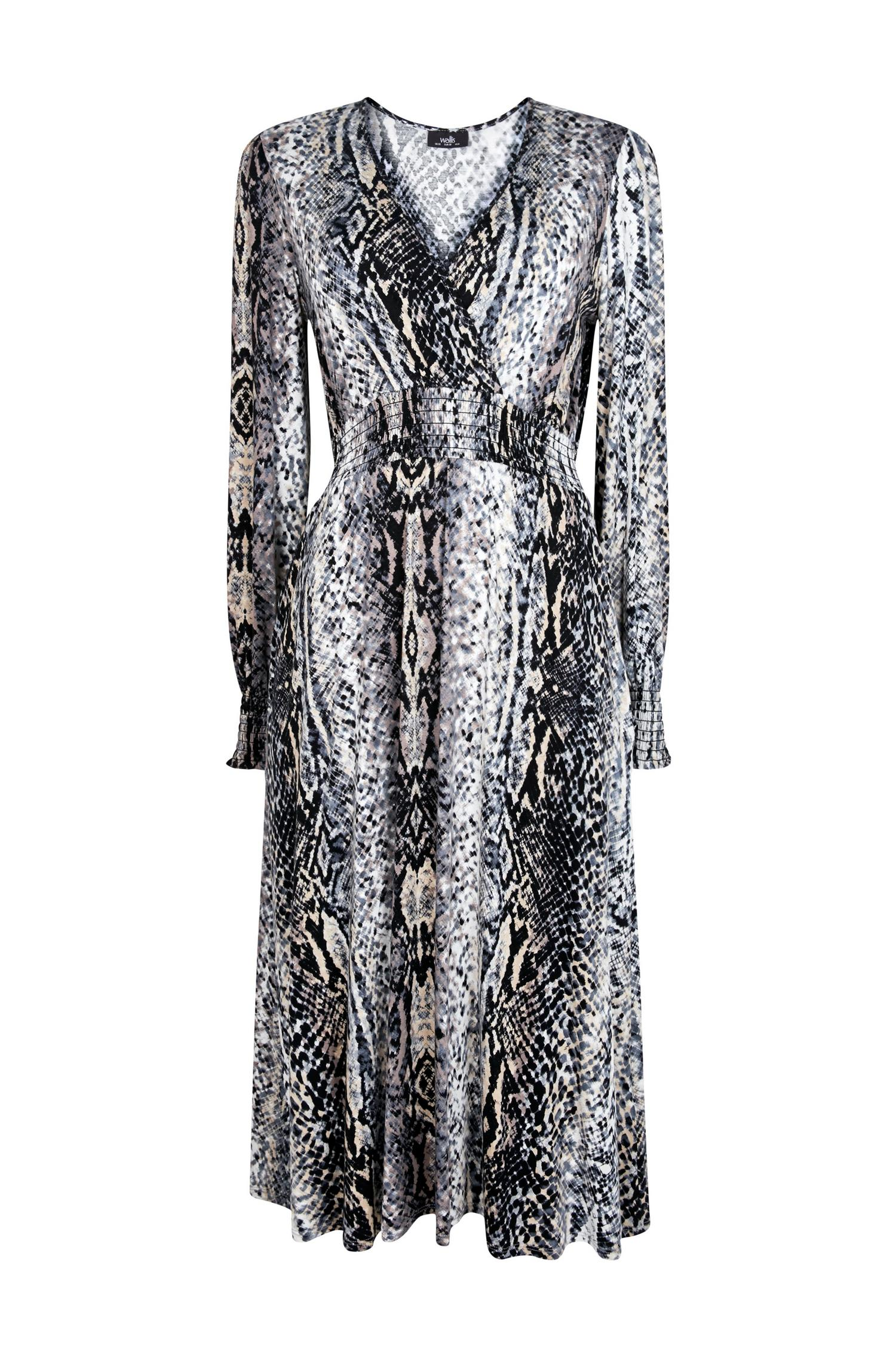 131 Grey Snake Print Wrap Dress image number 4