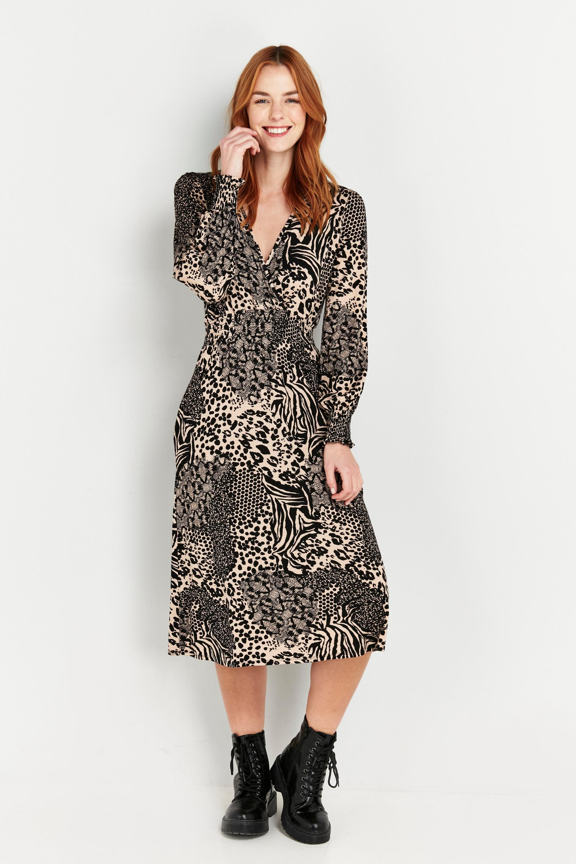 Nude Animal Print Midi Dress