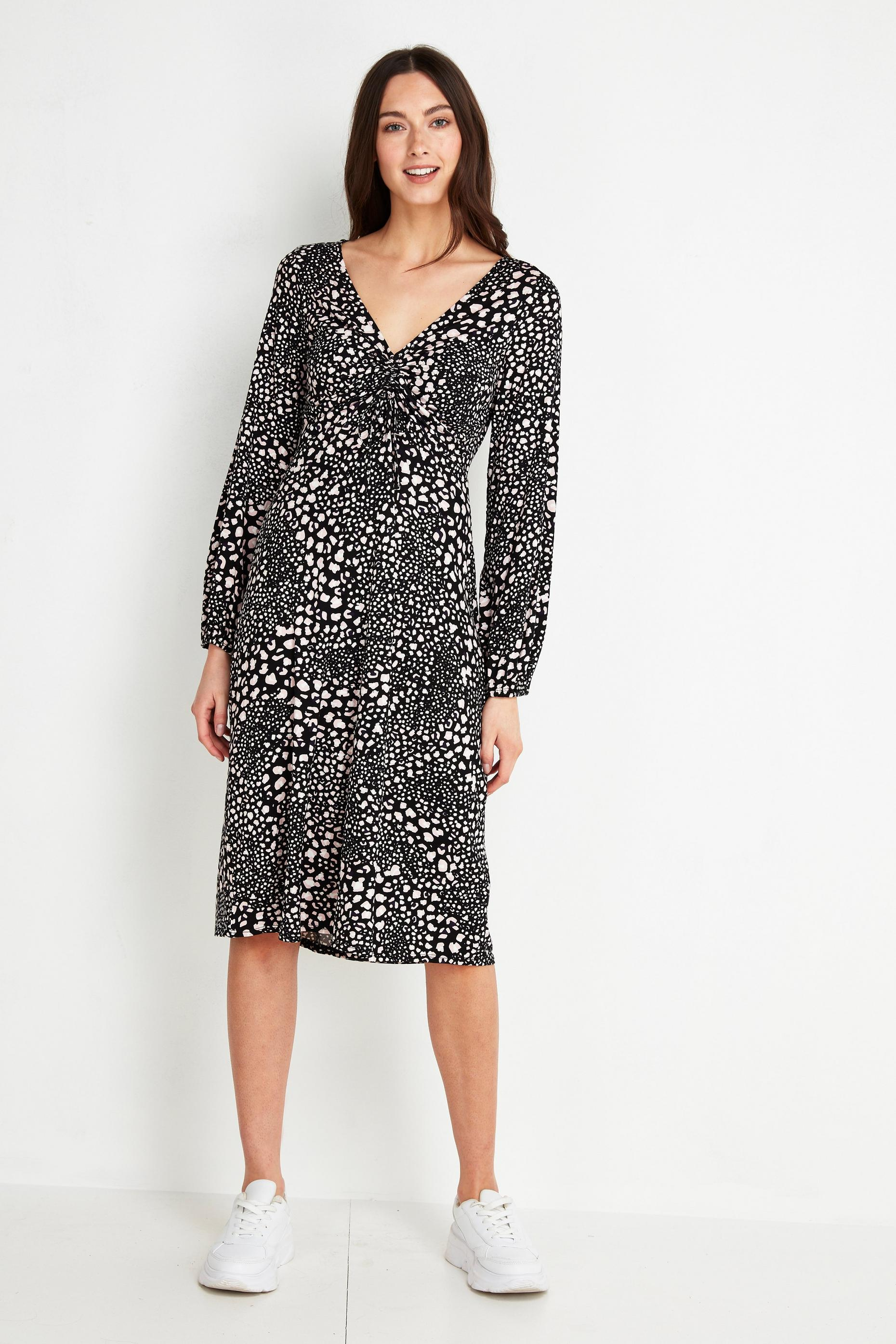 Monochrome Animal Print Ruched Midi Dress