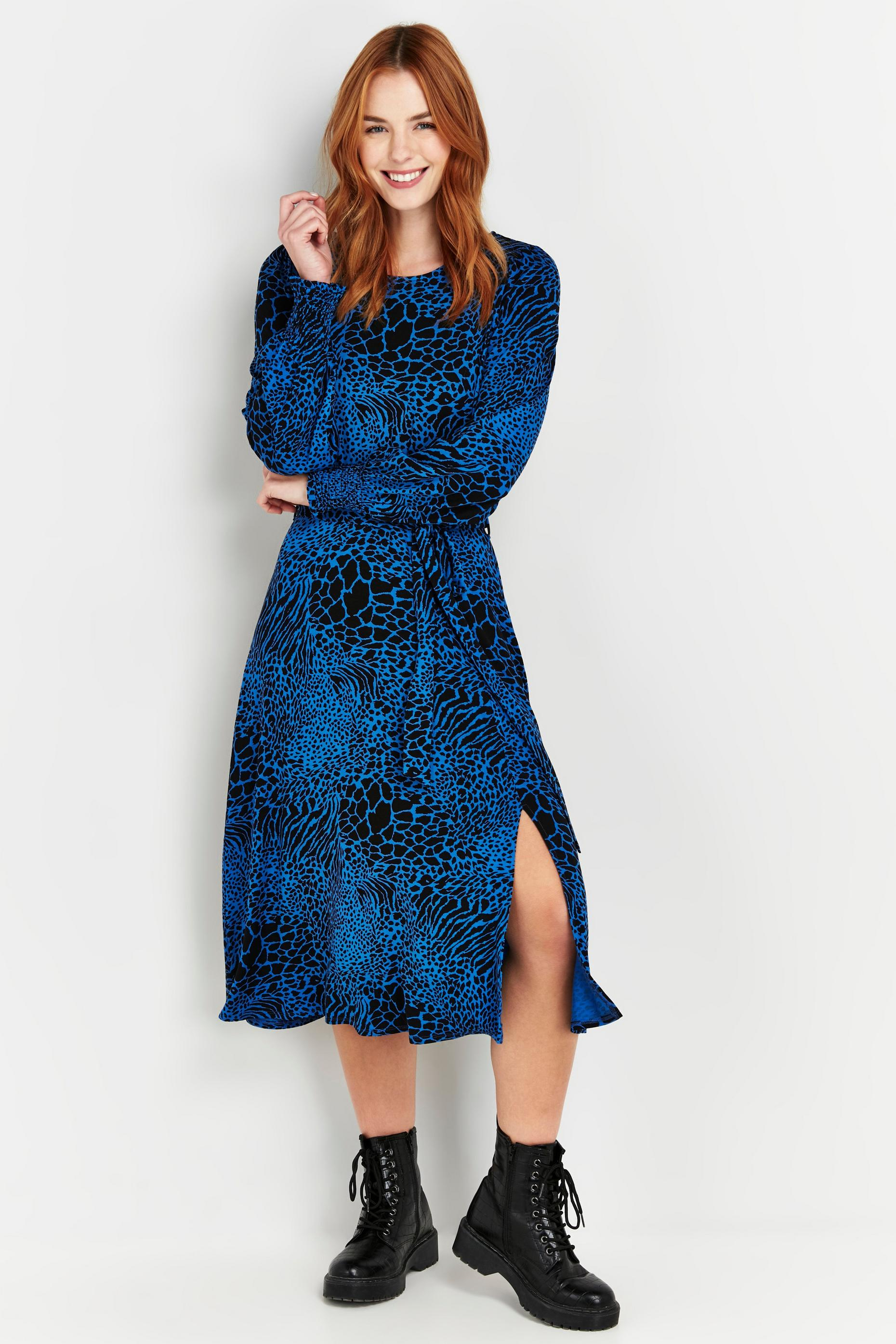 Blue Animal Print Midi Dress