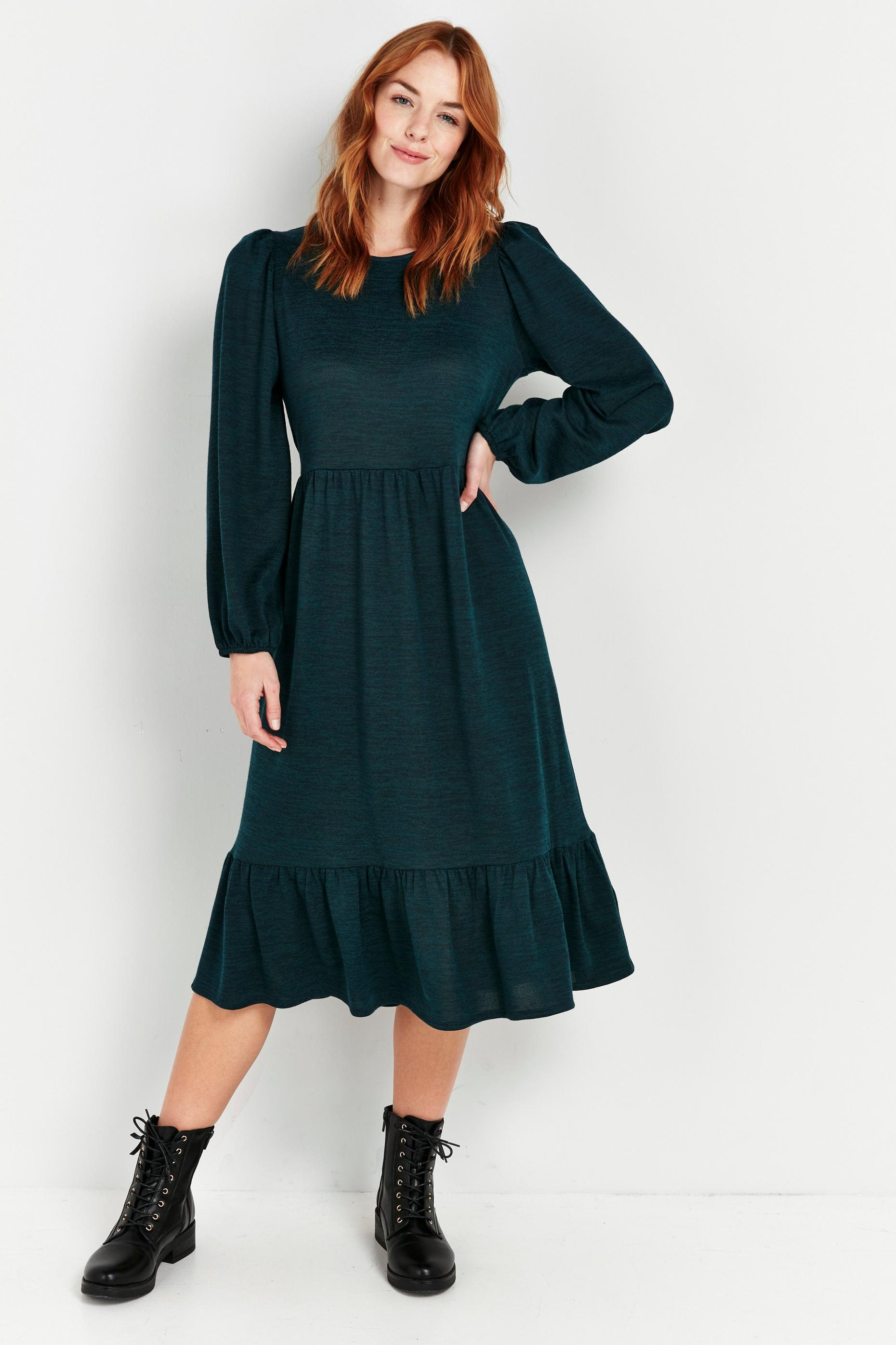 Green Tiered Hem Midi Dress
