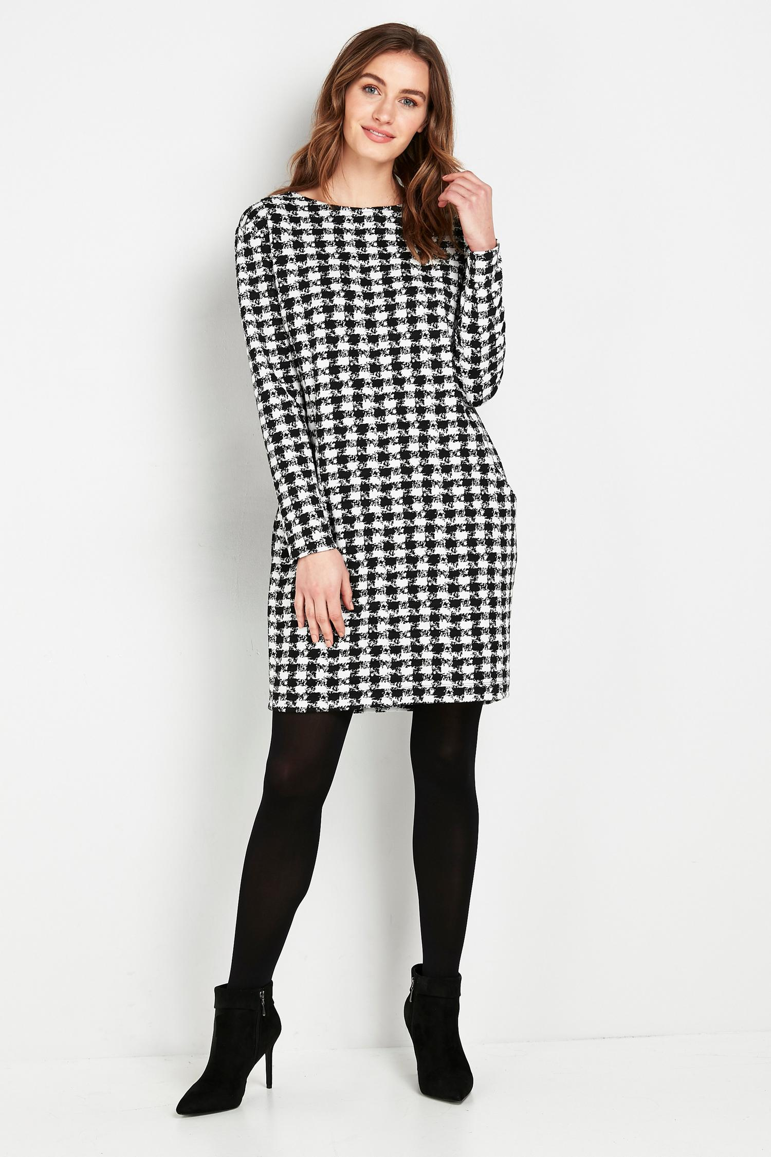 105 Monochrome Dogtooth Print Dress image number 1