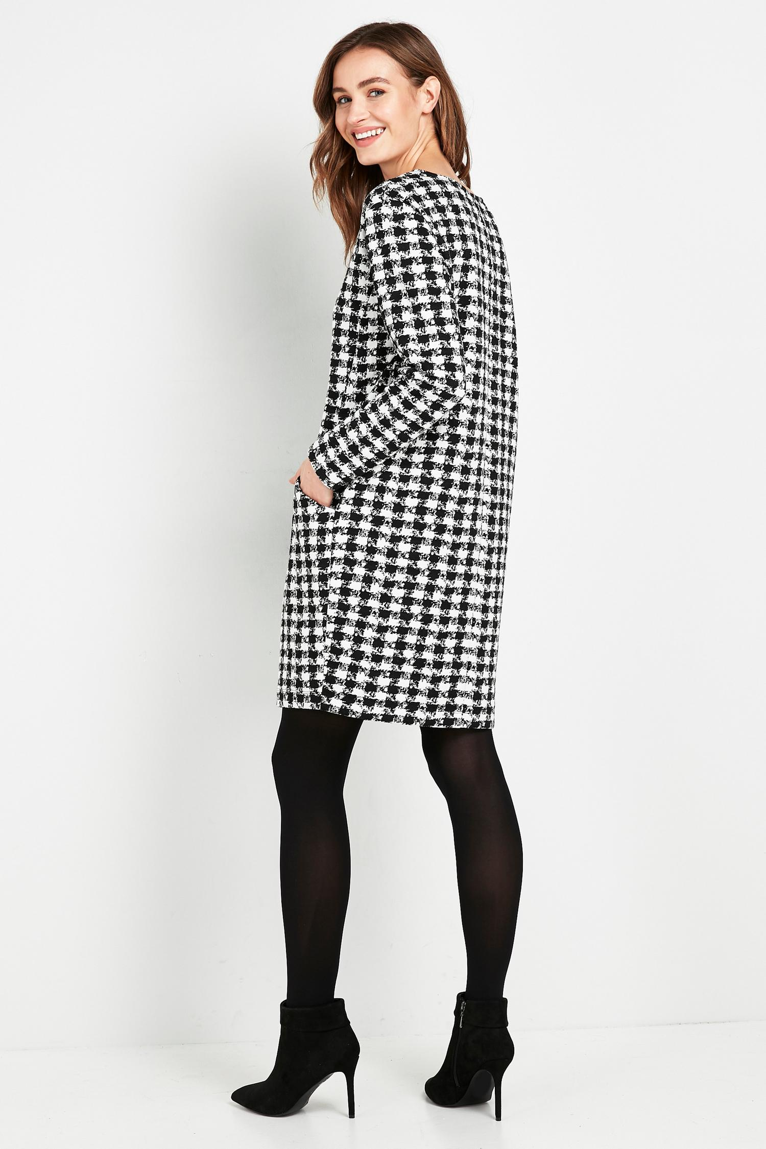 105 Monochrome Dogtooth Print Dress image number 2