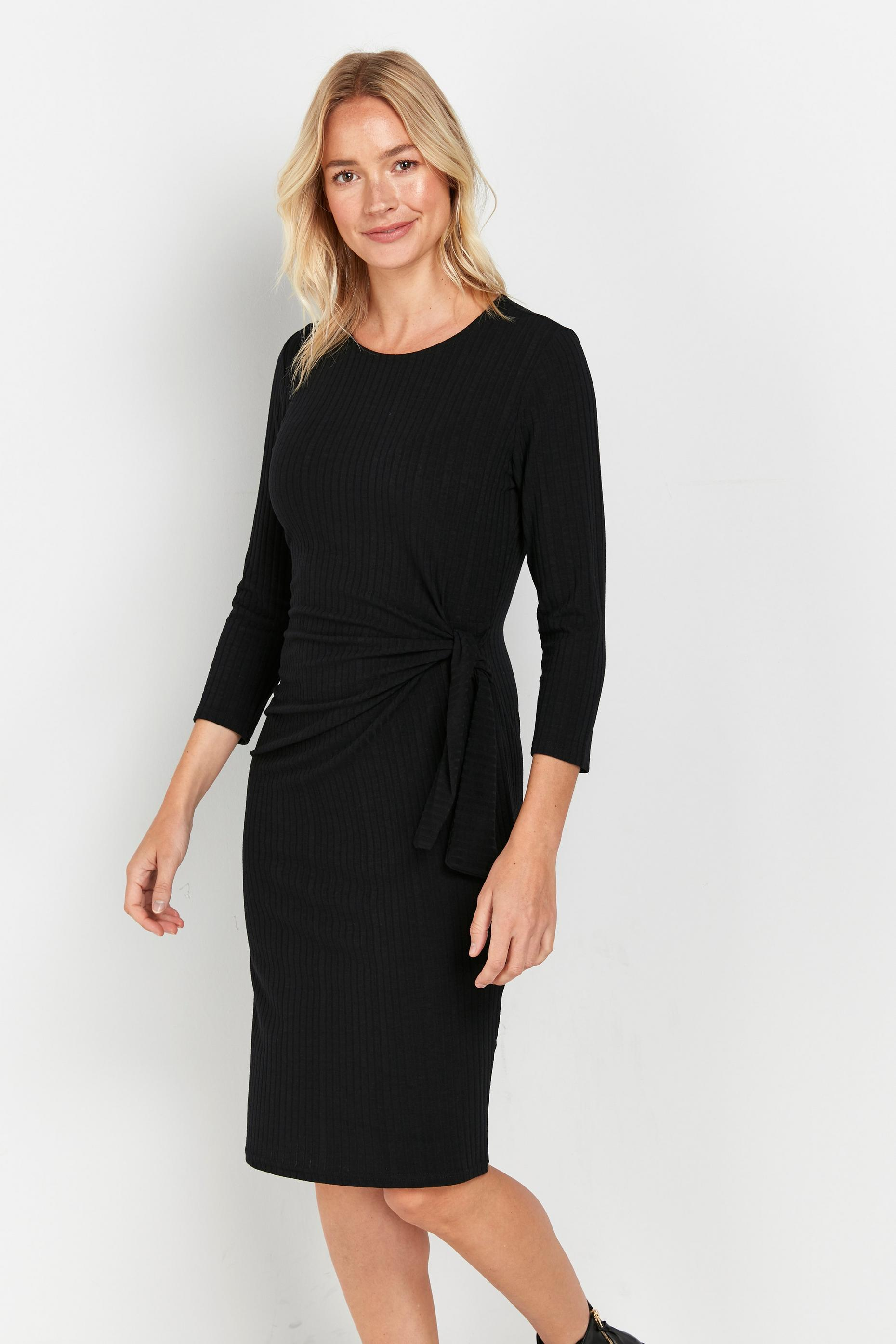 Black Ribbed Side Tie Dress