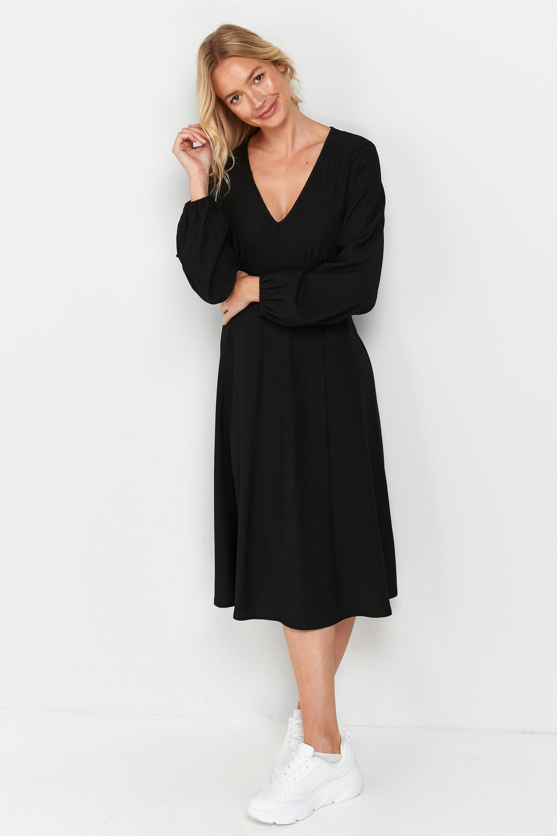 Black V-Neck Puff Sleeve Dress
