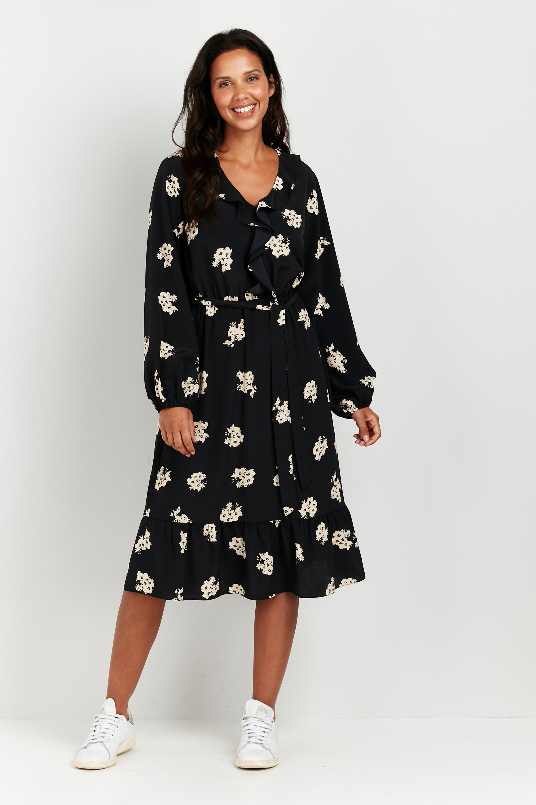 Black Floral Print Ruffle Front Midi Dress