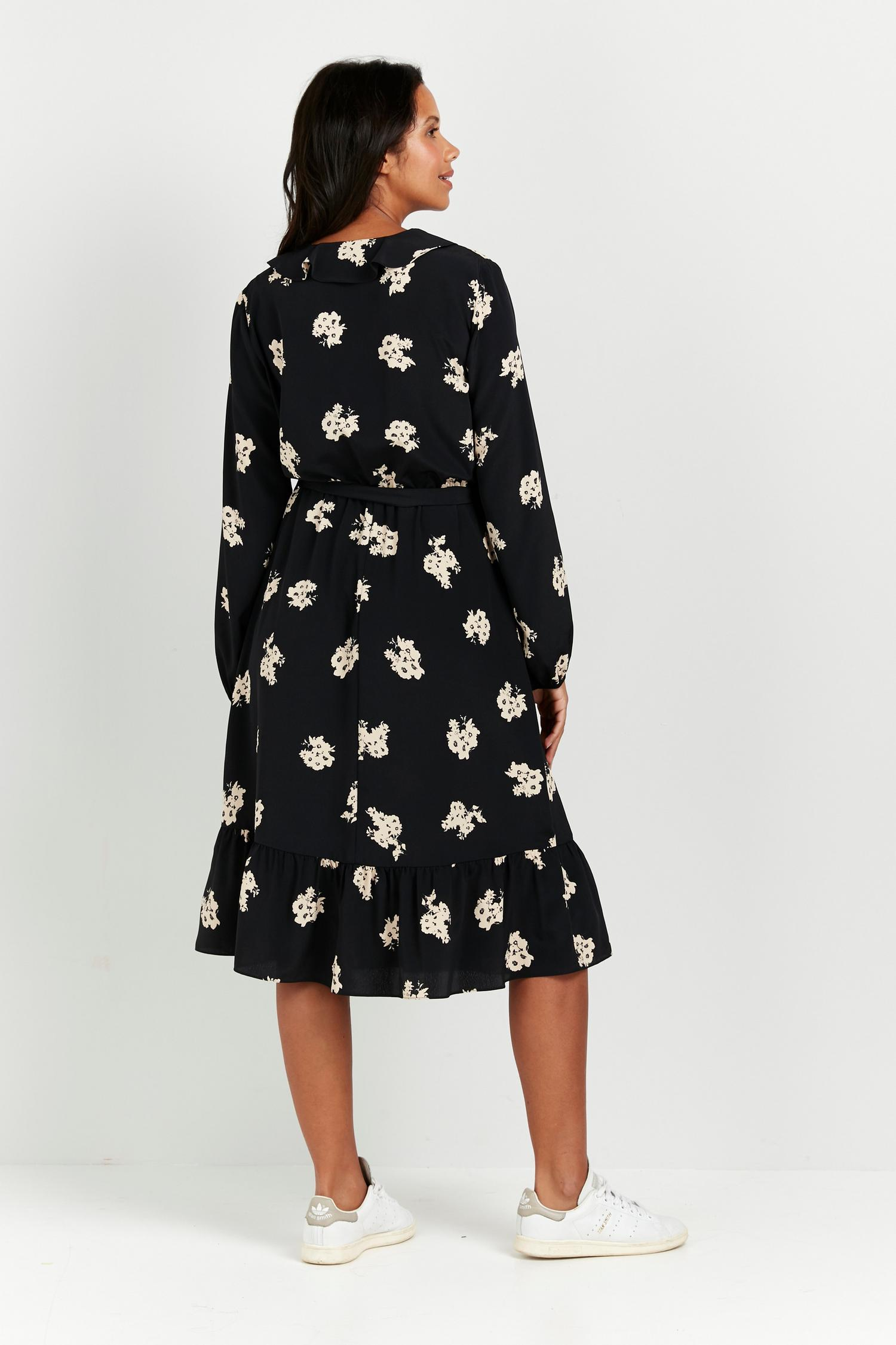 165 Black Floral Print Ruffle Front Midi Dress image number 2