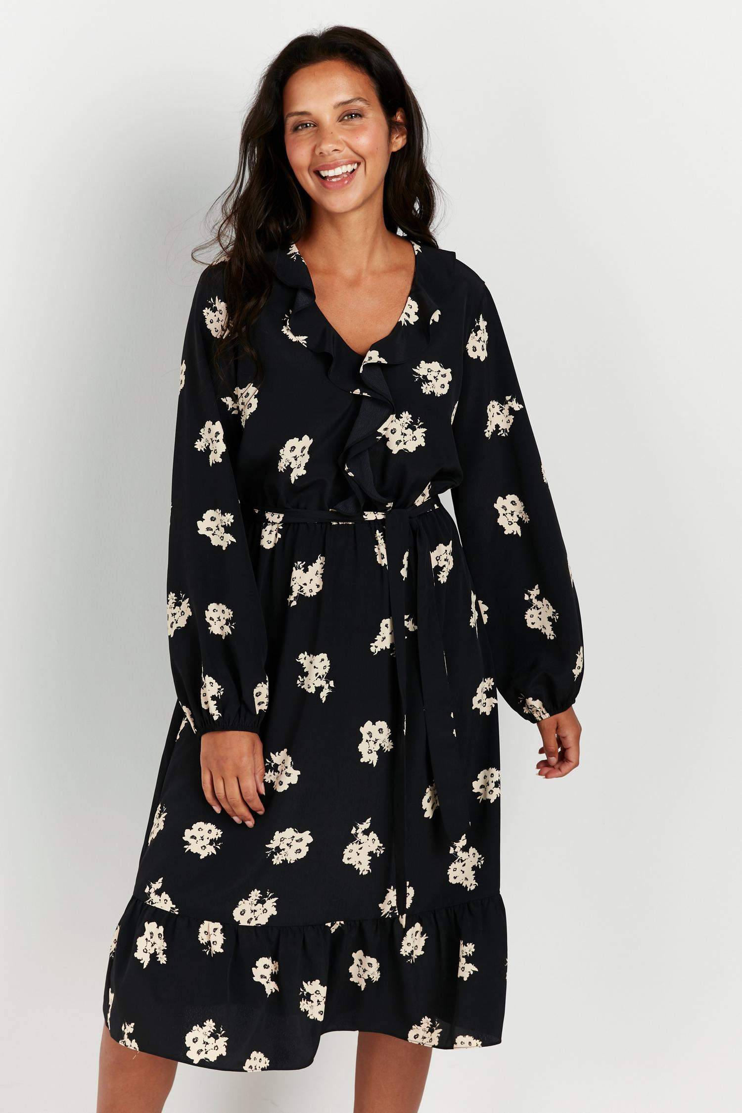 165 Black Floral Print Ruffle Front Midi Dress image number 3