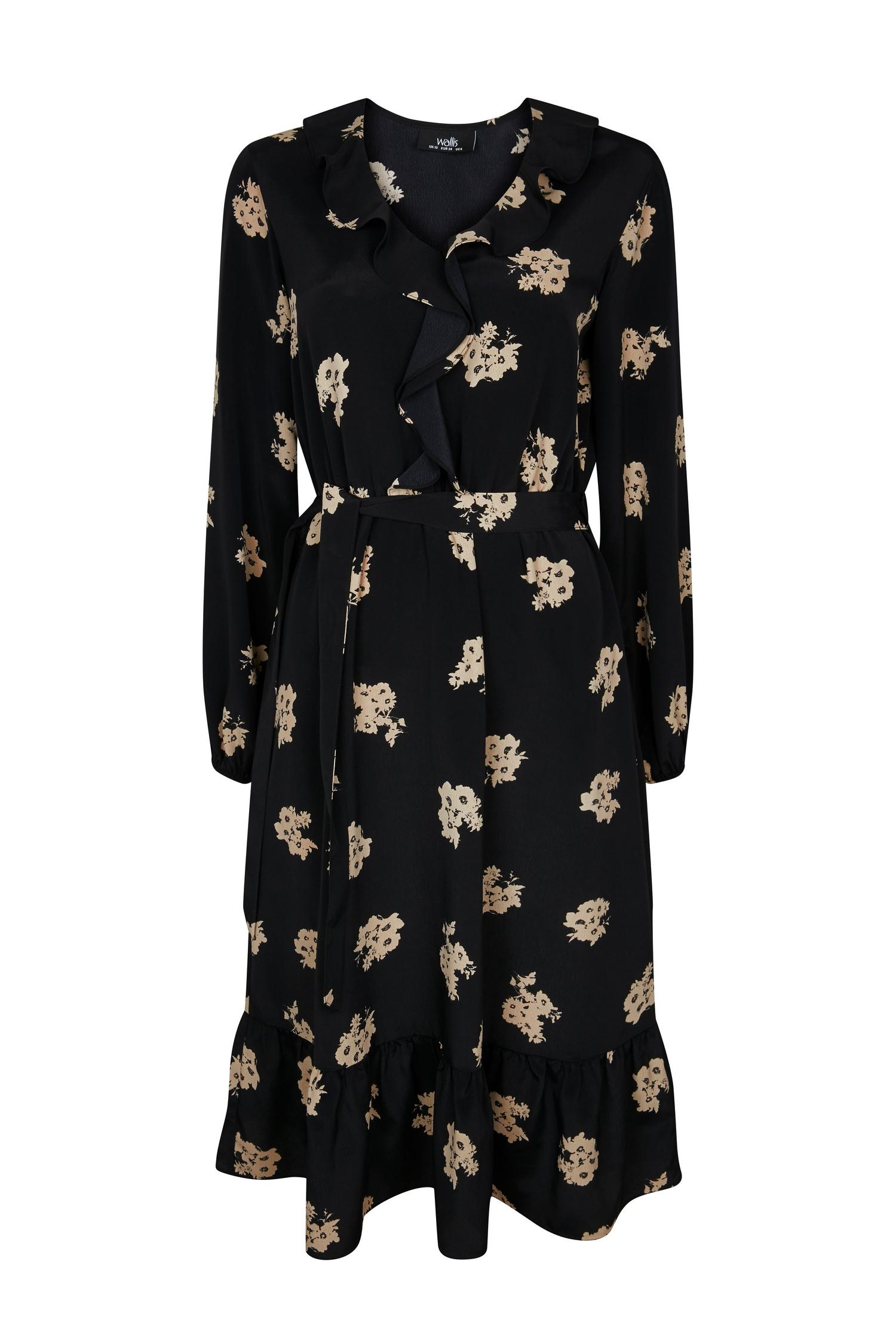 165 Black Floral Print Ruffle Front Midi Dress image number 4