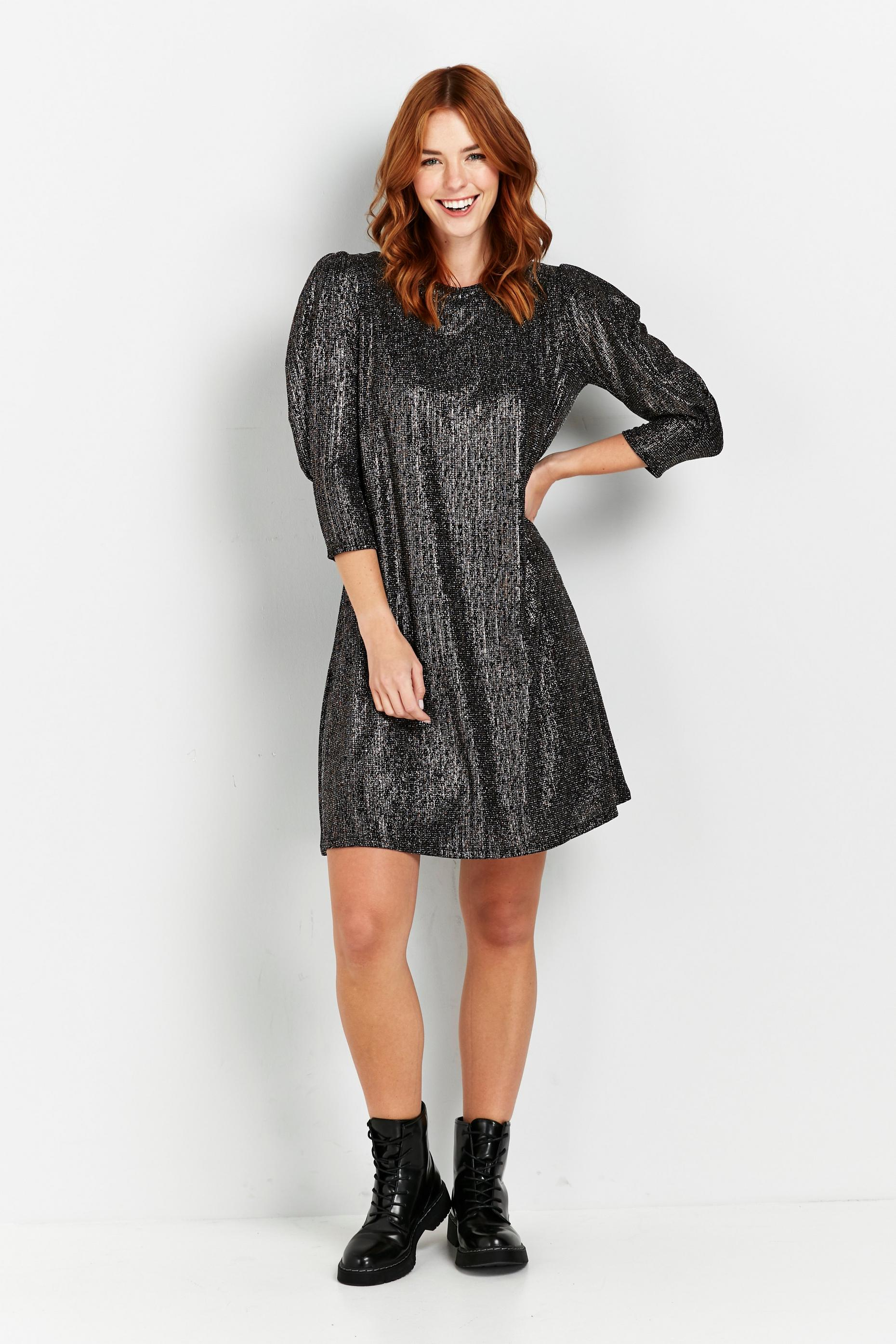 Bronze Shine Puff Sleeve Dress
