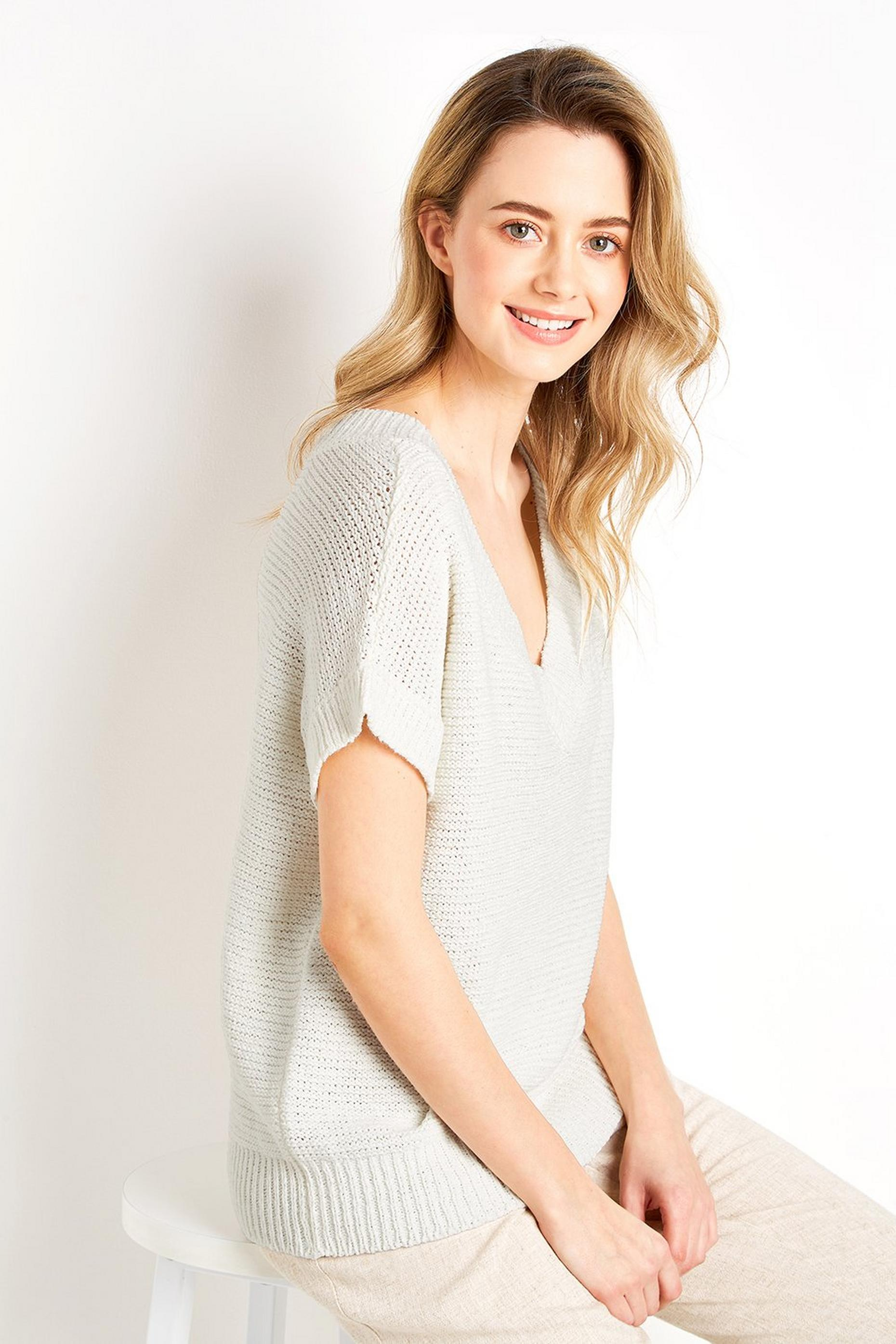Ivory V-Neck Knit Jumper