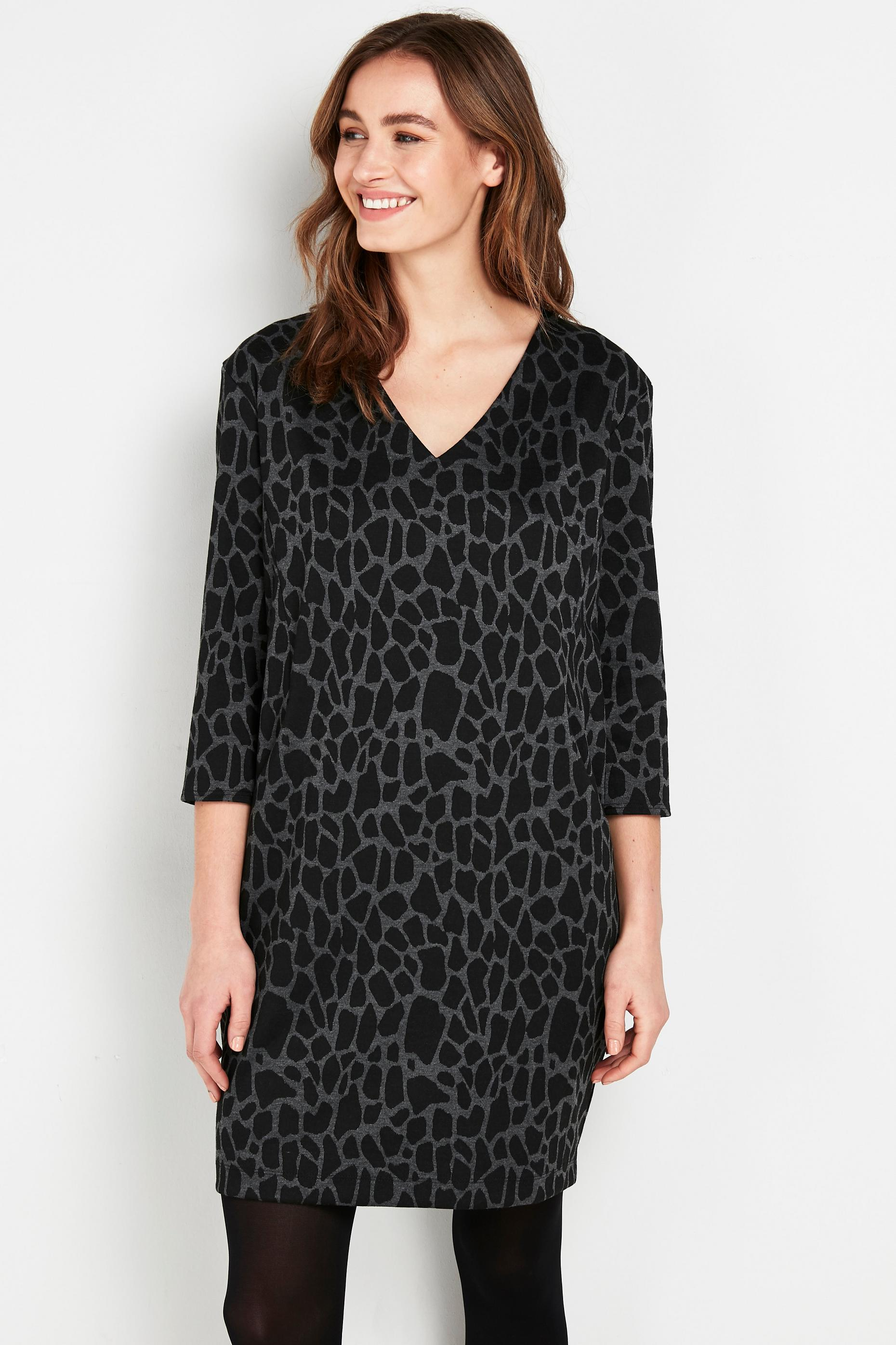 Grey Animal Print Jacquard Dress
