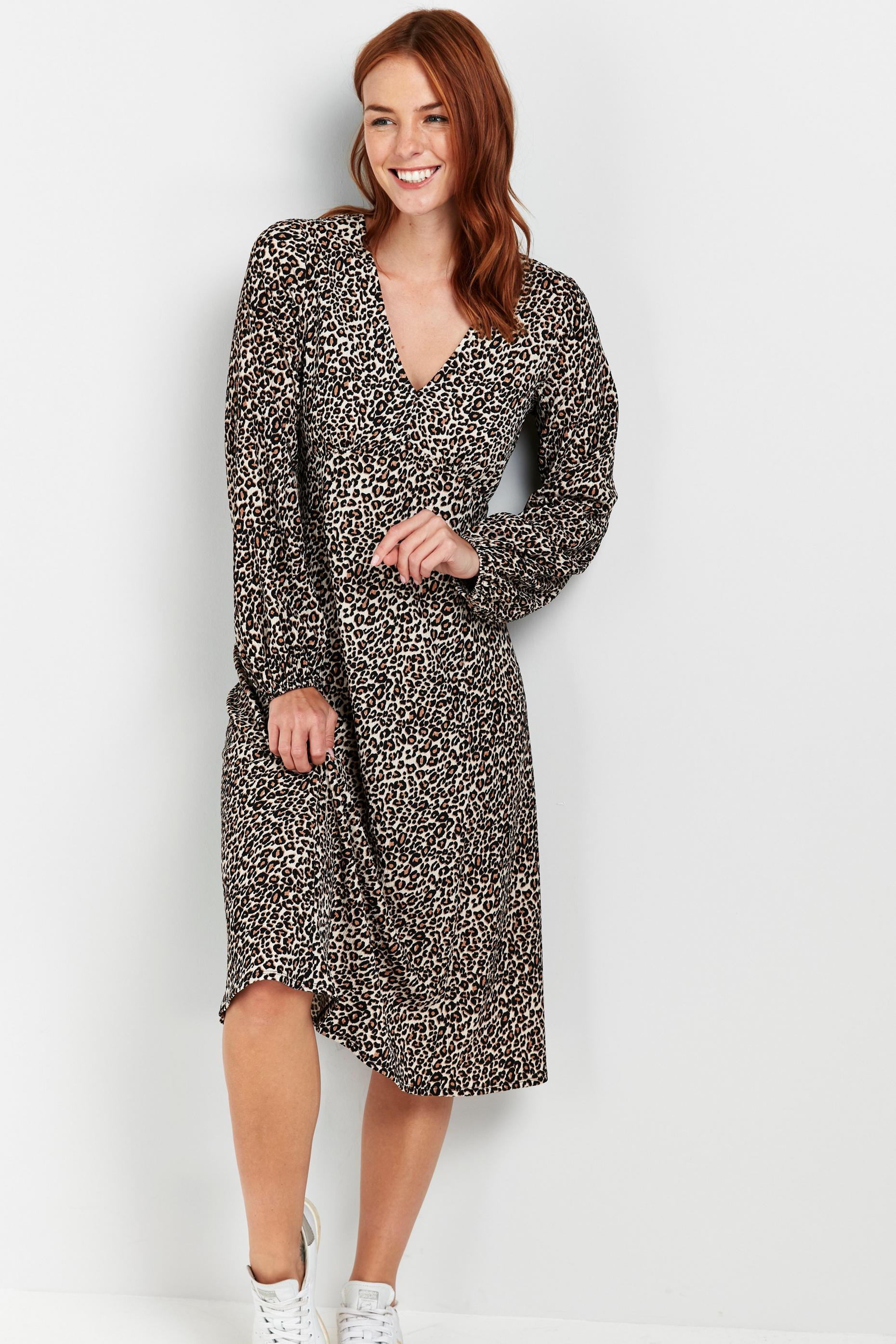 Brown Animal Print Puff Sleeve Midi Dress