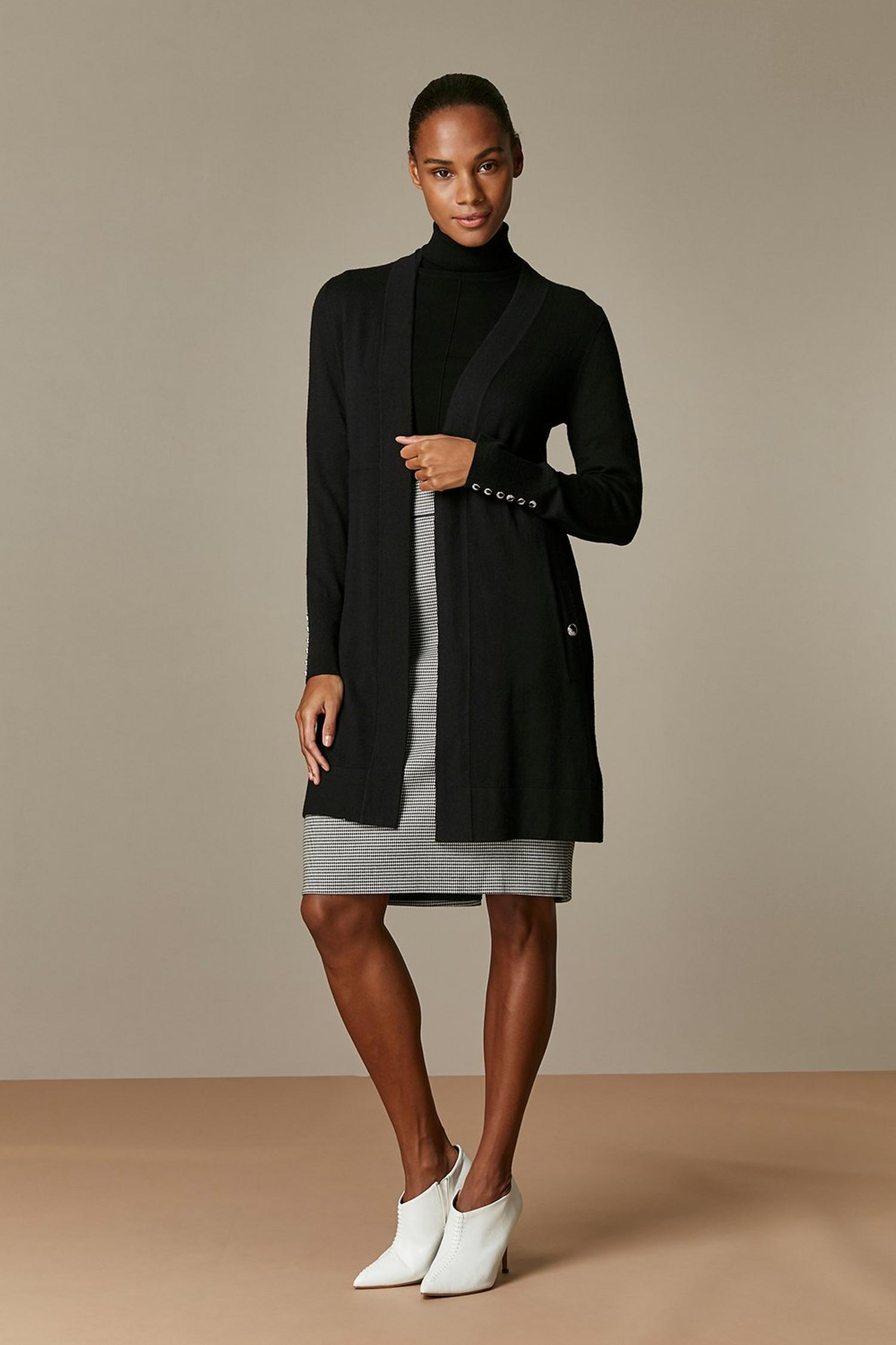 105 Black Wool Blend Cardigan image number 3