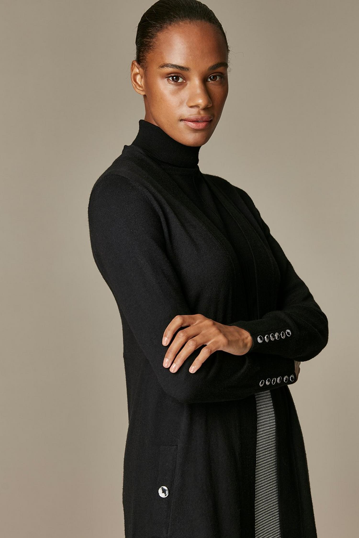 105 Black Wool Blend Cardigan image number 4