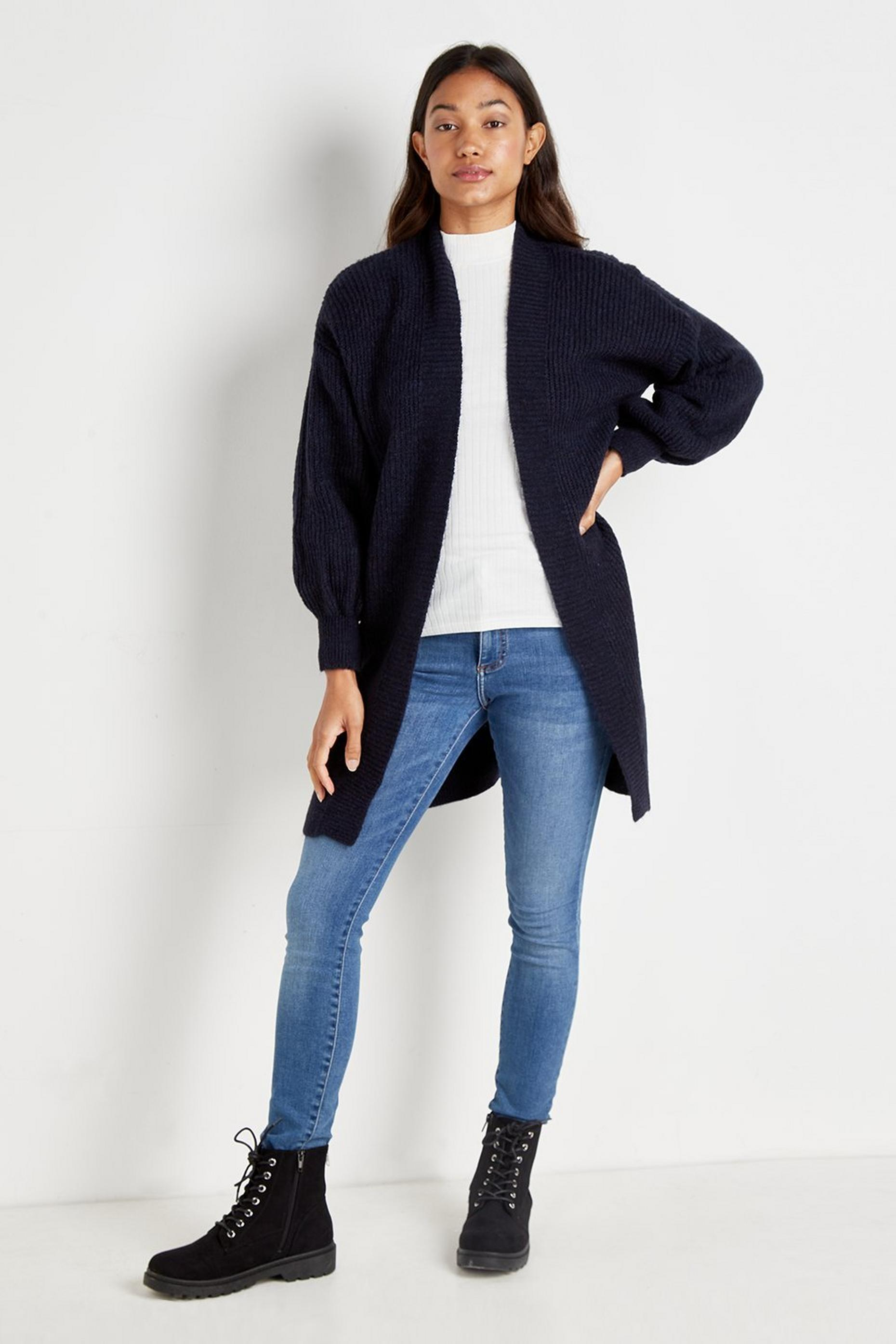Navy Puff Sleeve Cardigan