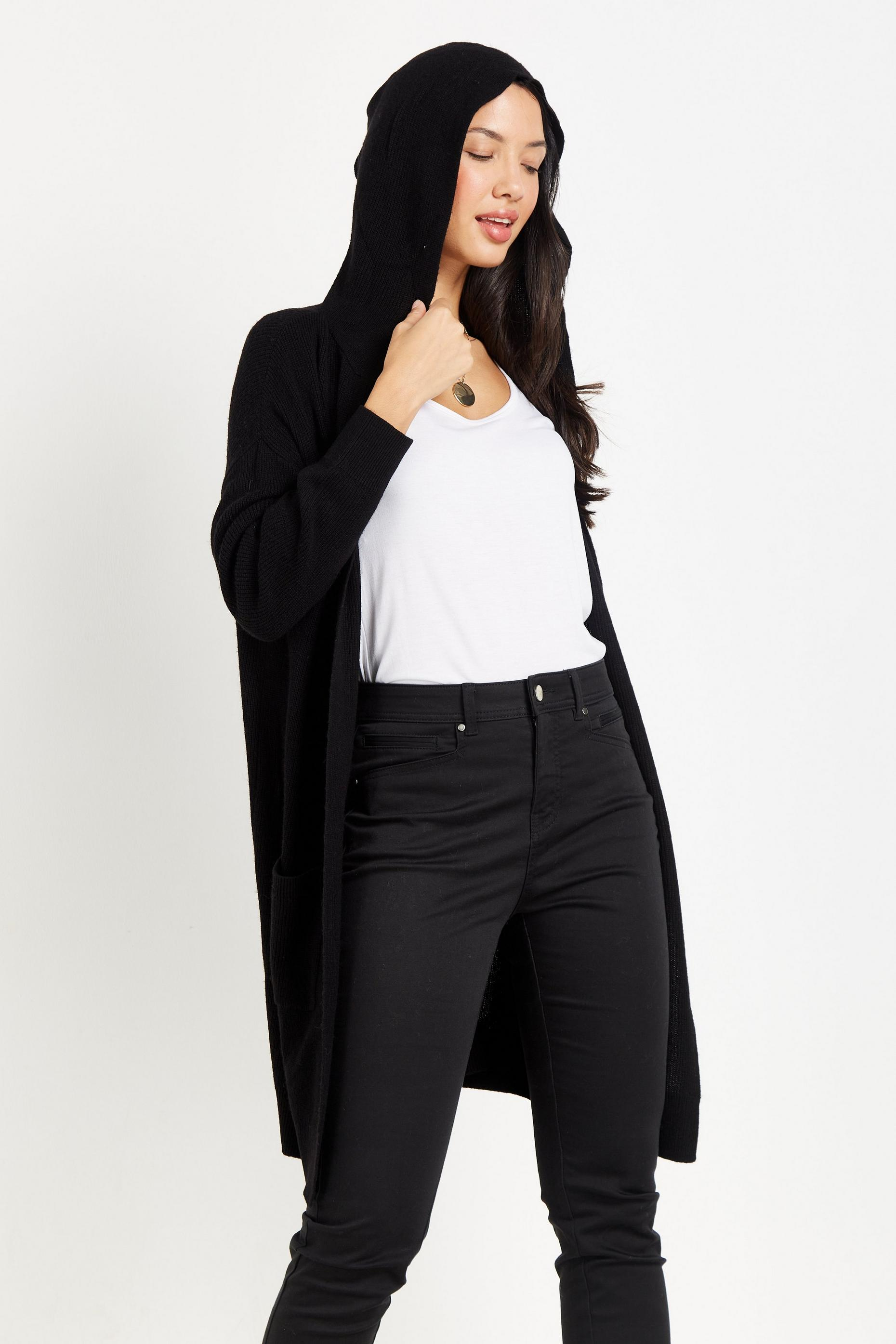 Black Knitted Hooded Cardigan