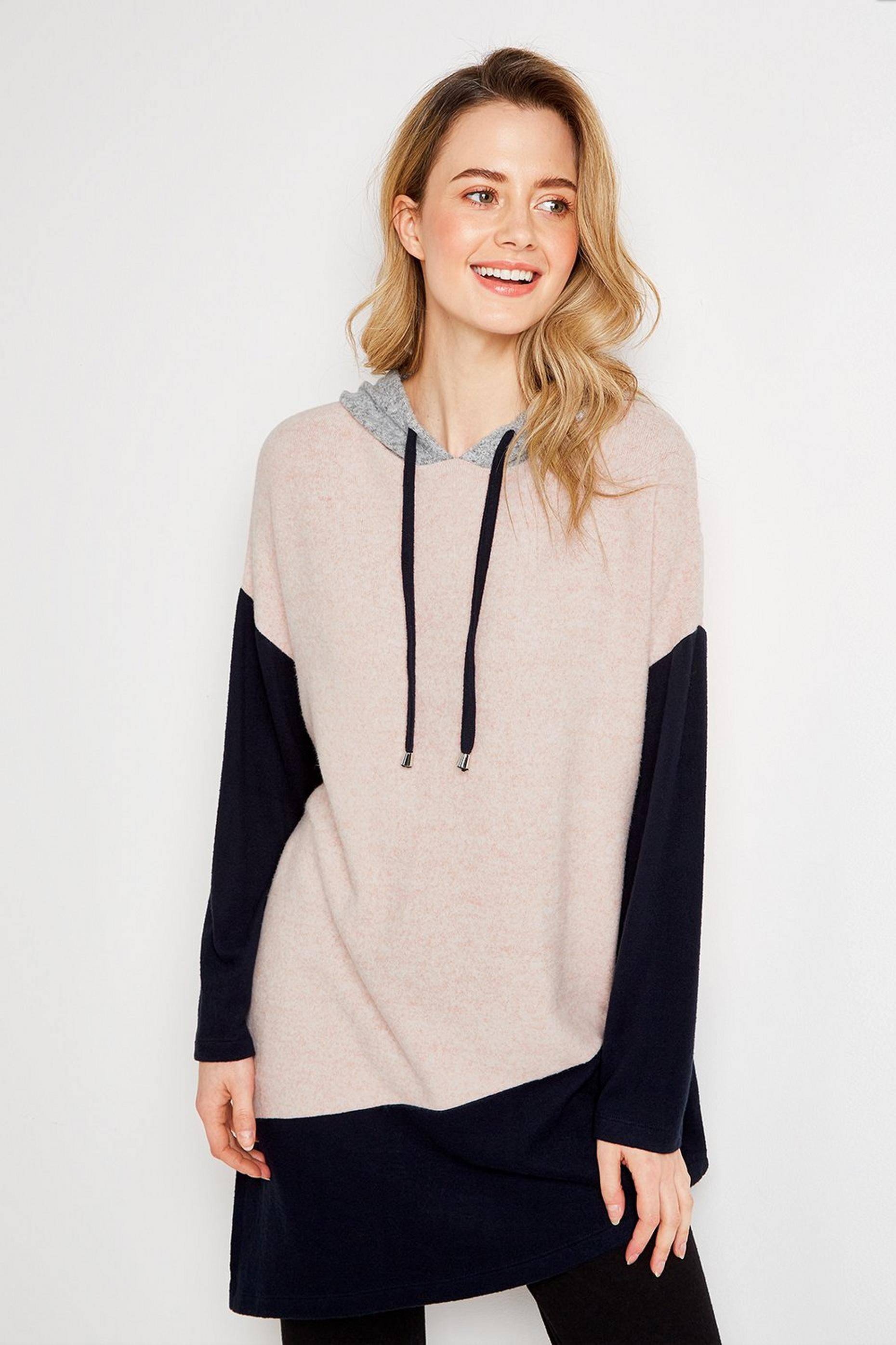 Pale Pink Colourblock Asymmetric Hoodie