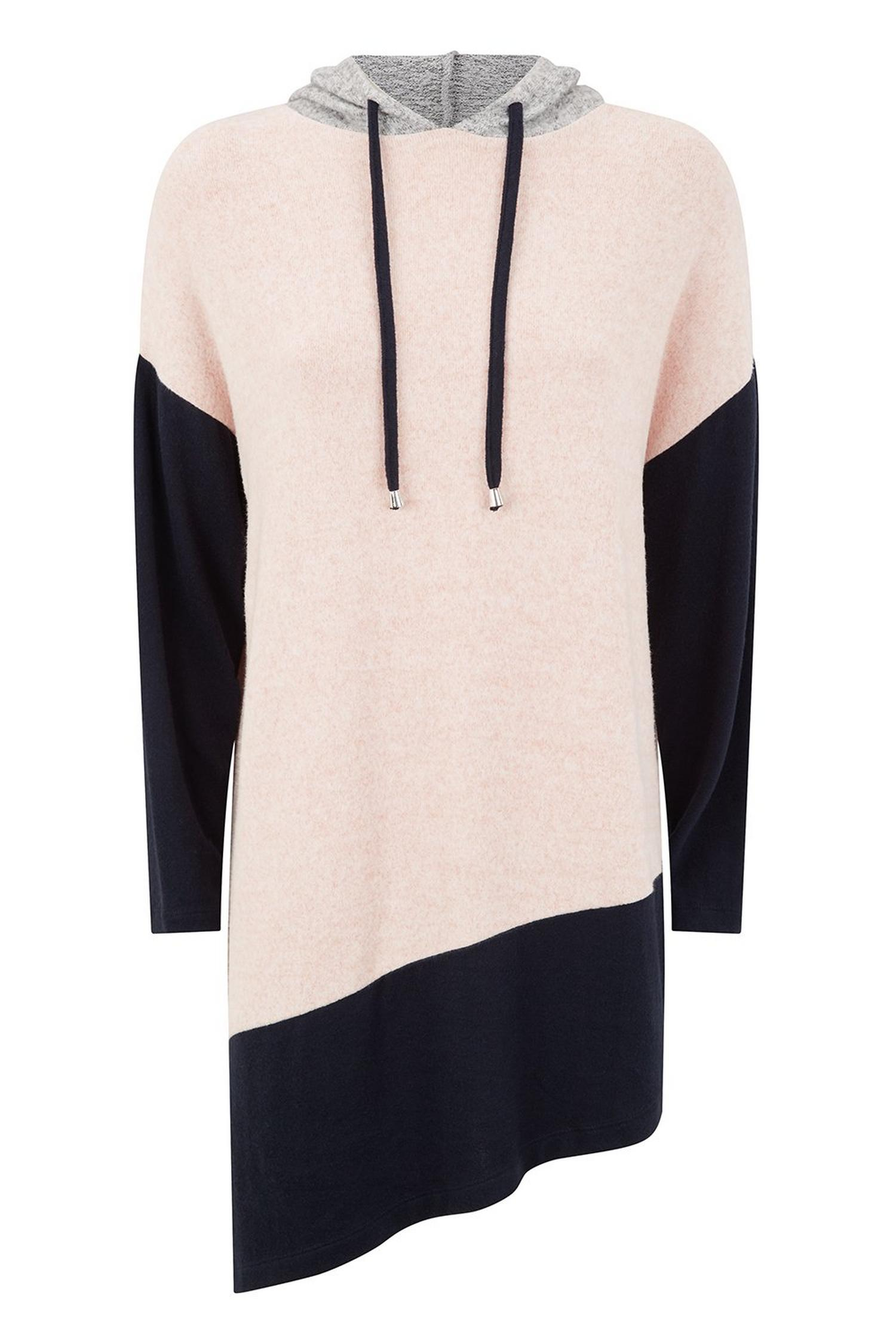 155 Pale Pink Colourblock Asymmetric Hoodie image number 2