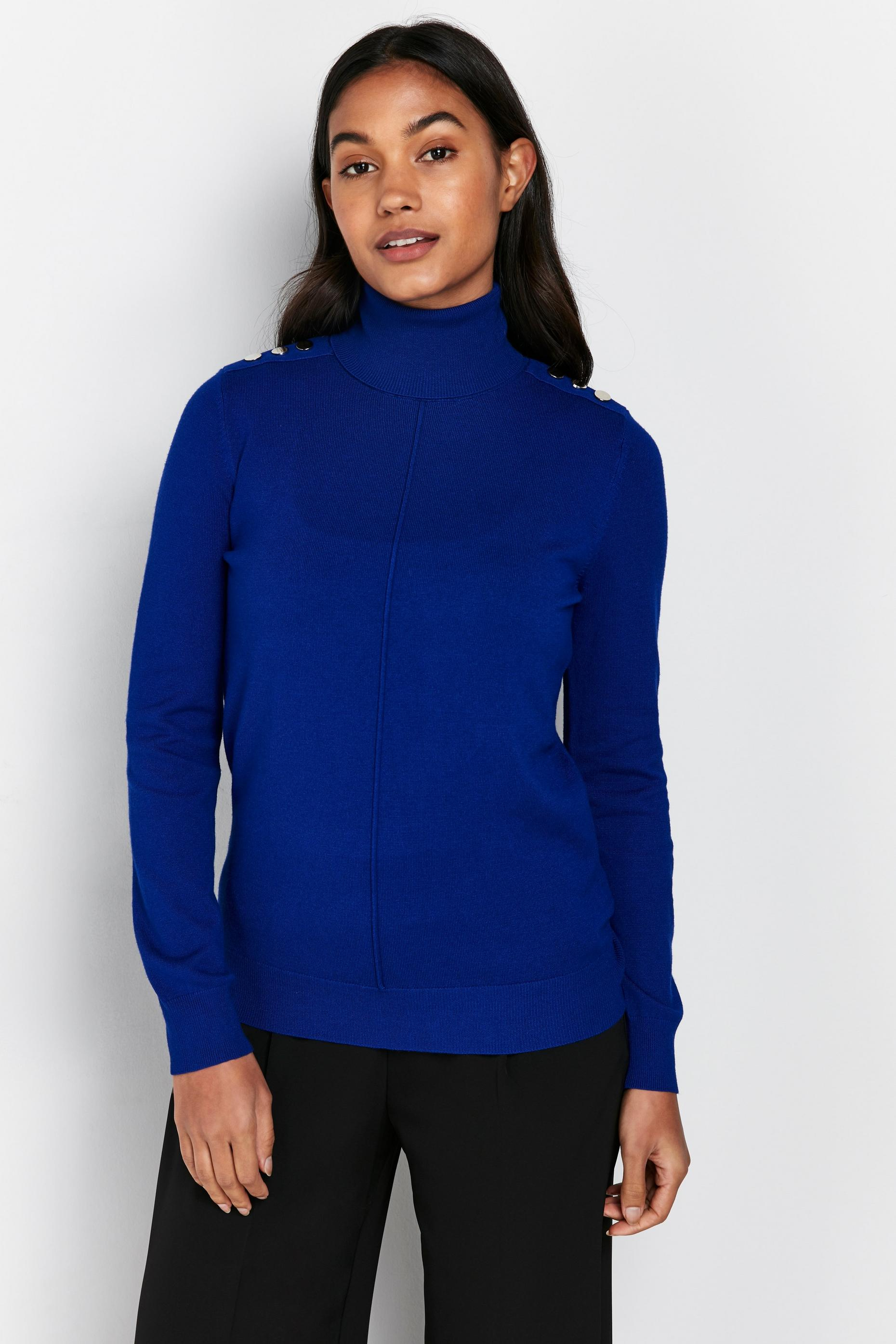 Blue Shoulder Stud High Neck Jumper
