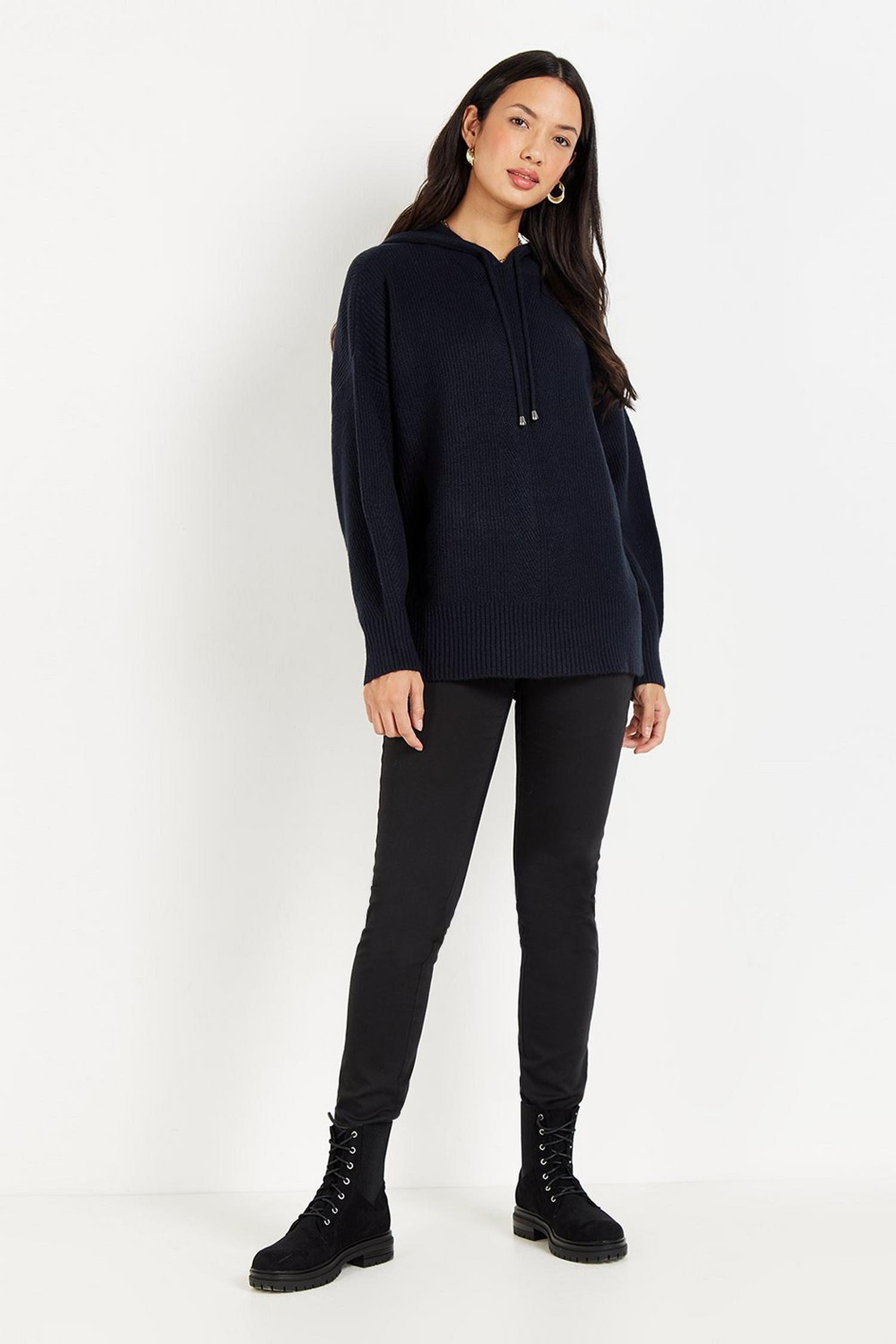 148 Navy Knitted Hoodie Jumper image number 1