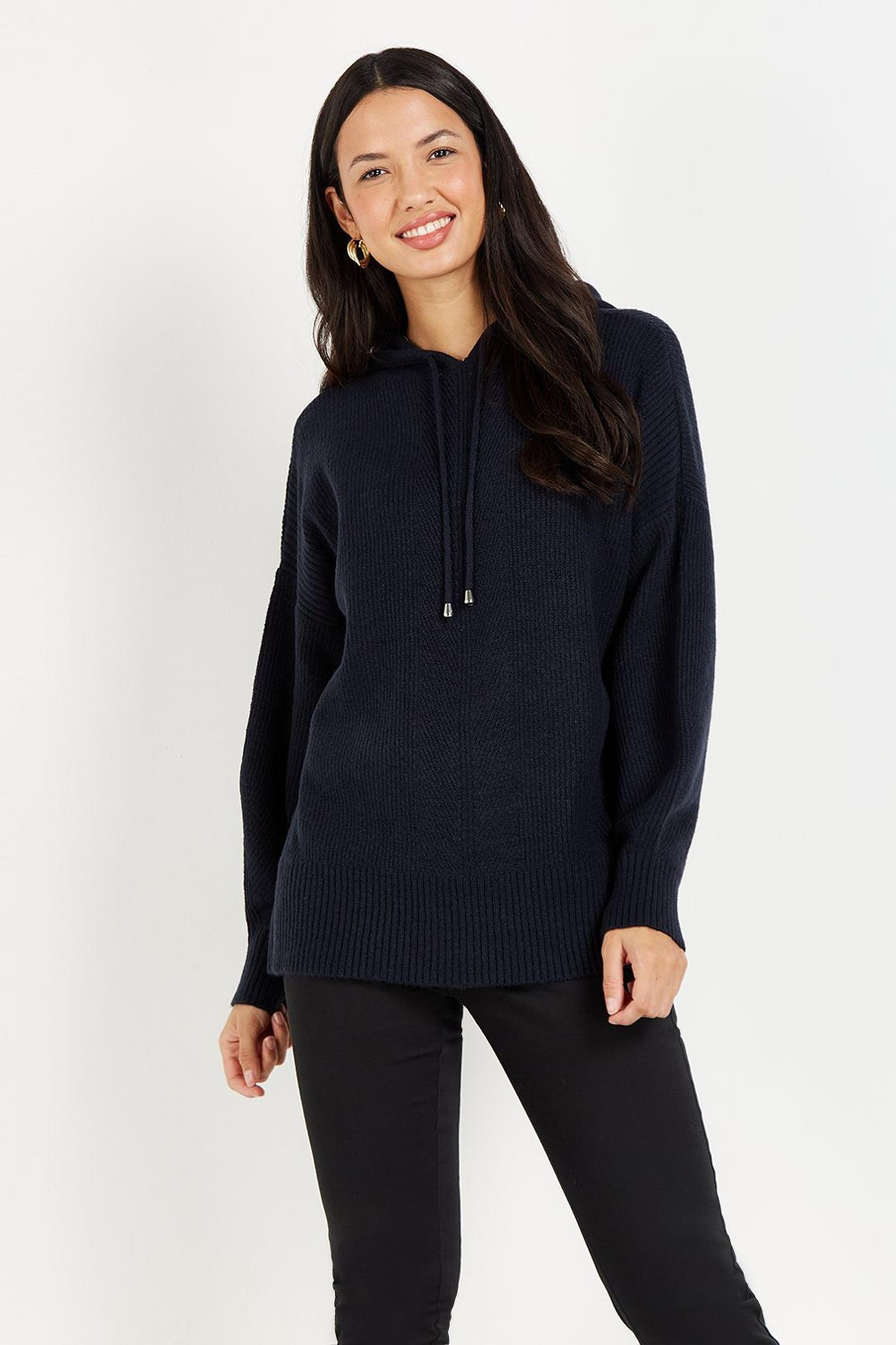 148 Navy Knitted Hoodie Jumper image number 2