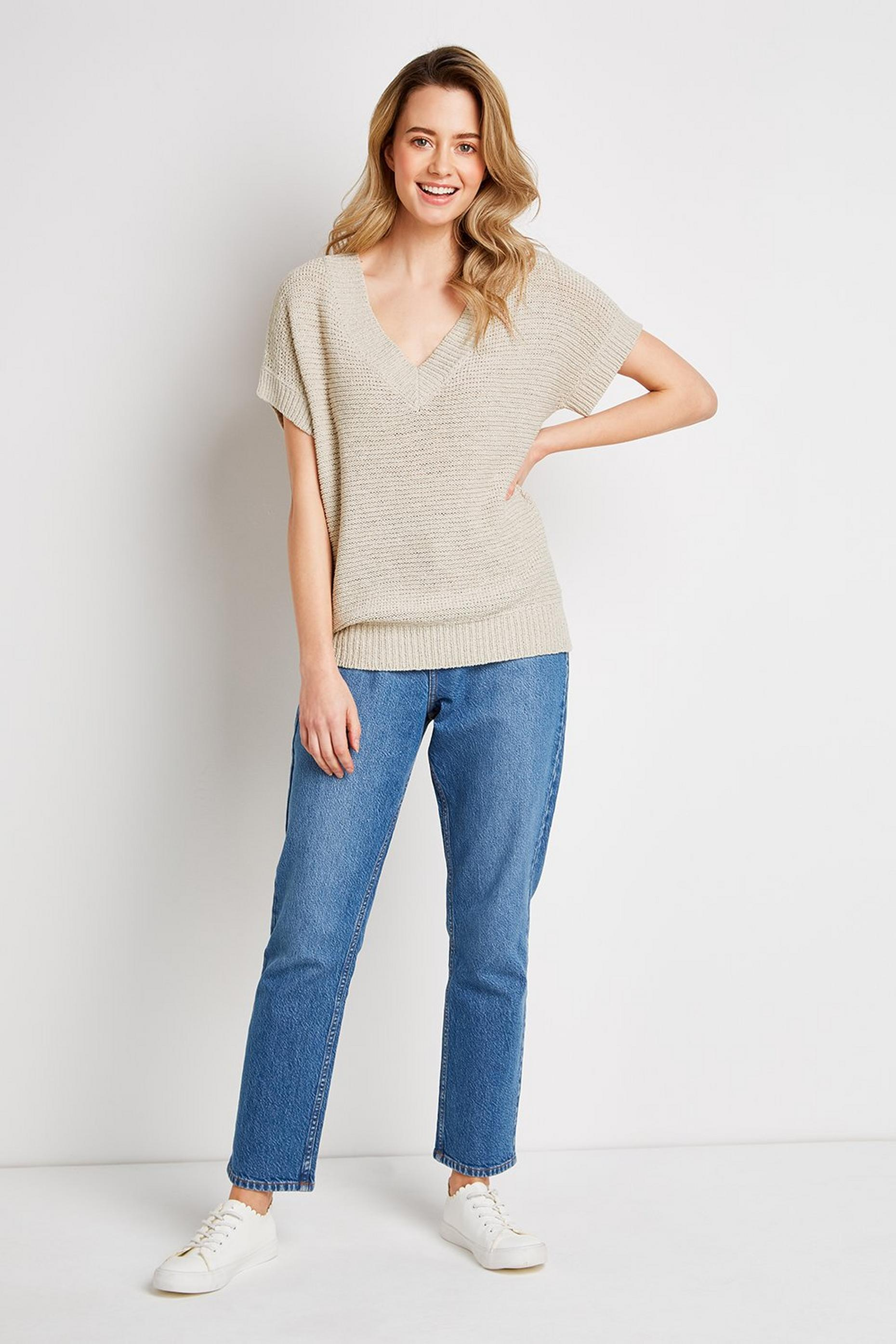 Stone V-Neck Knit Jumper