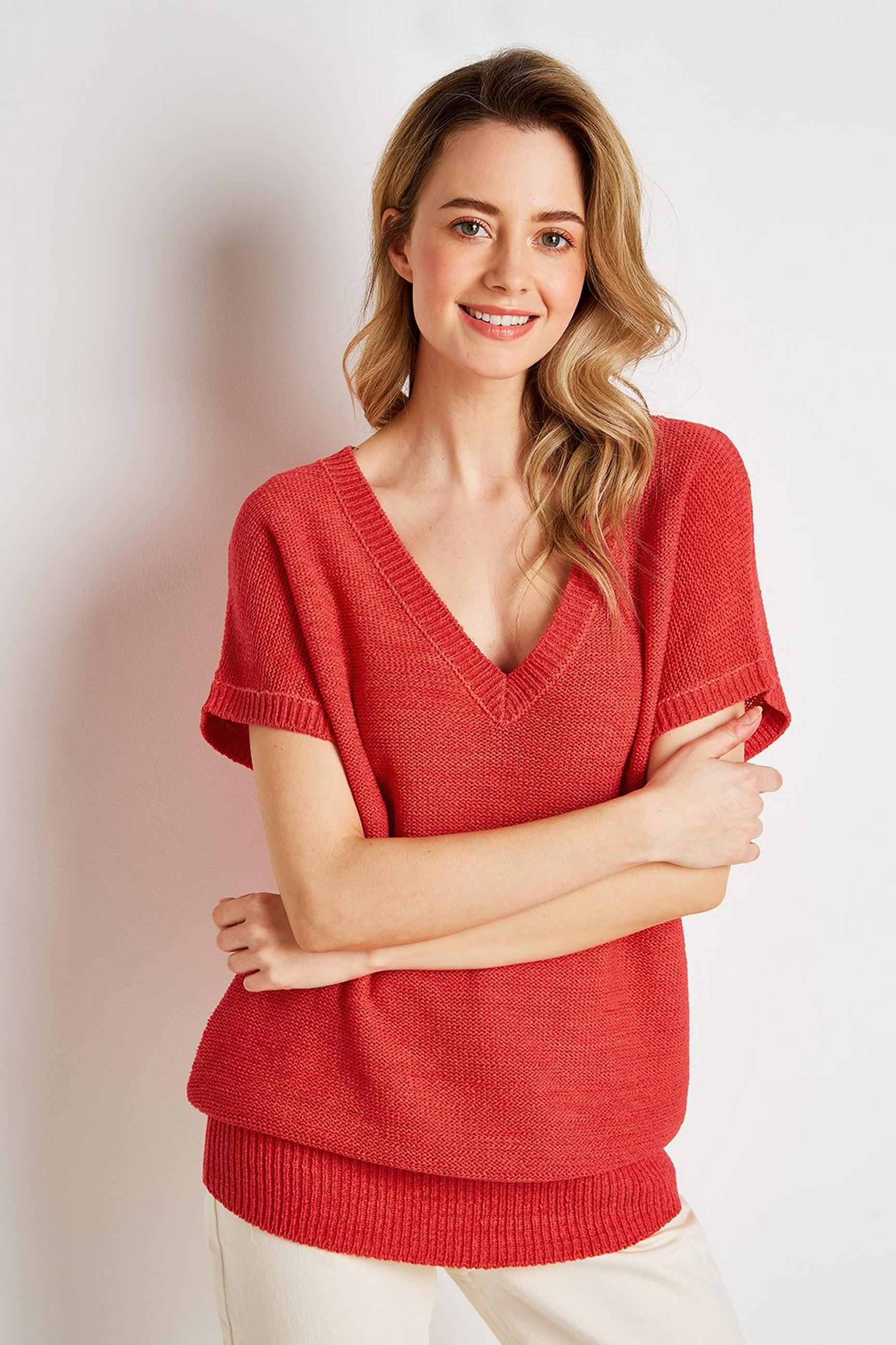 Red V-Neck Knit Jumper
