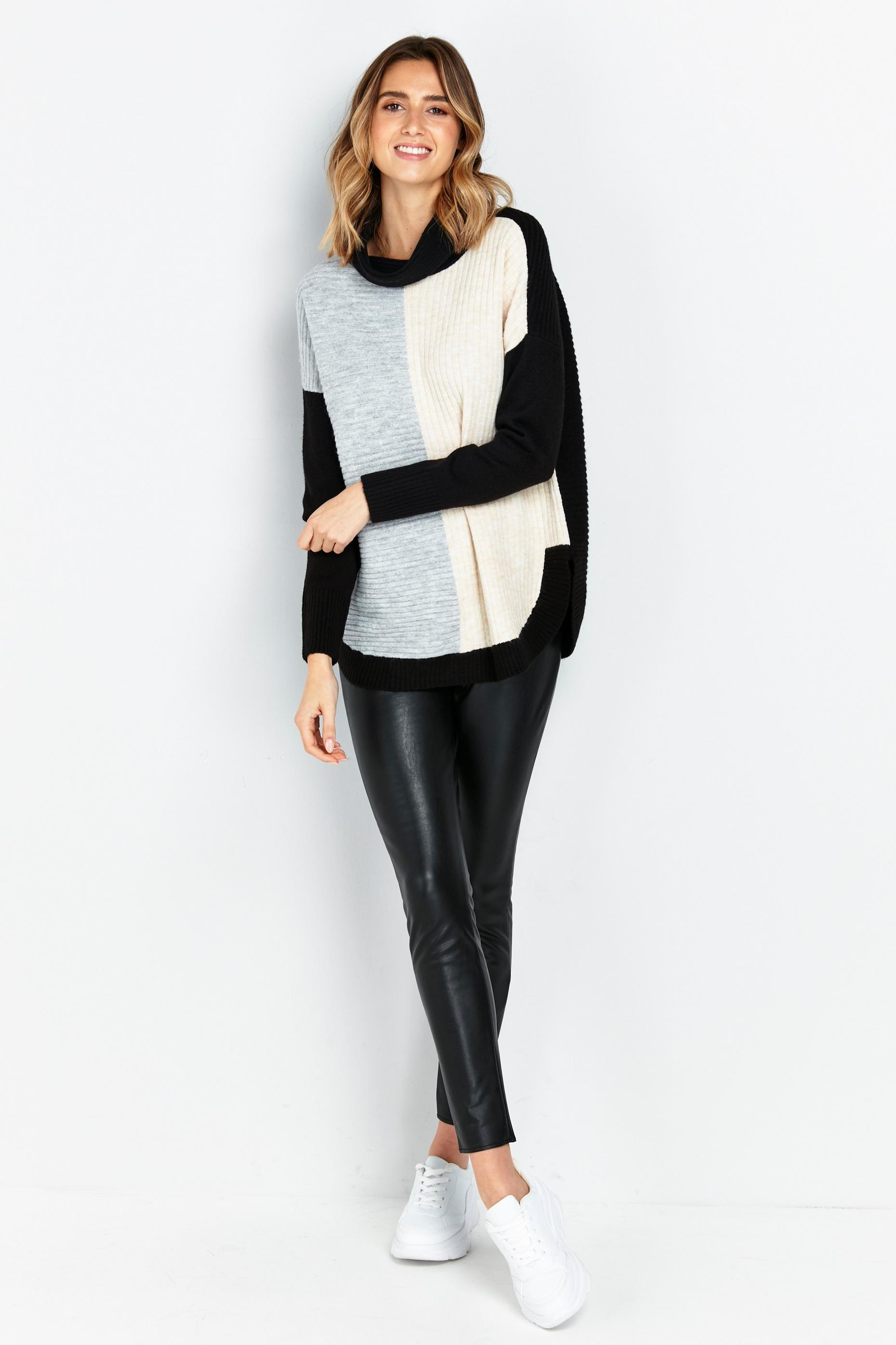 Grey Colourblock High Neck Jumper