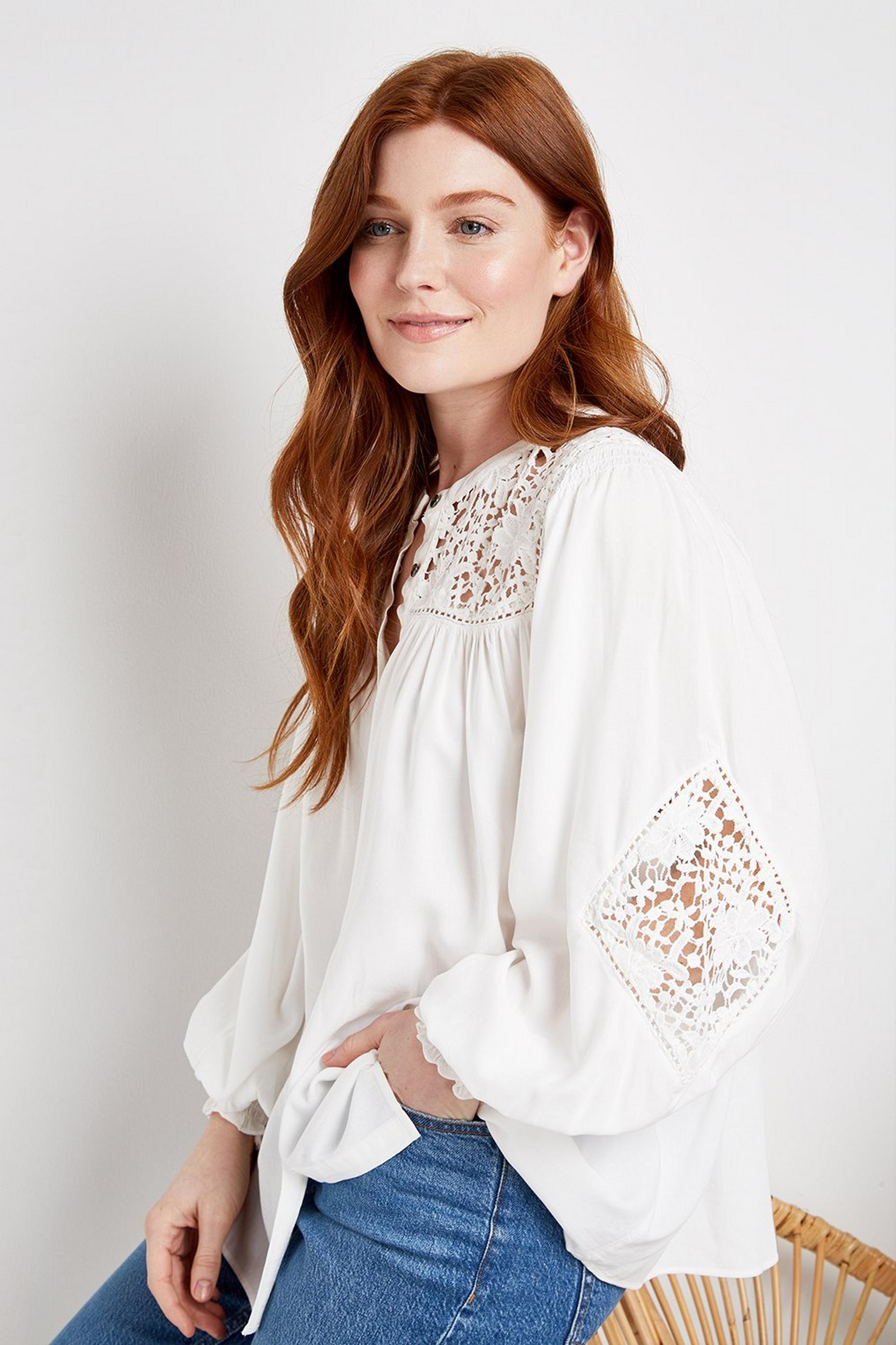 Ivory Crochet Detail Blouse