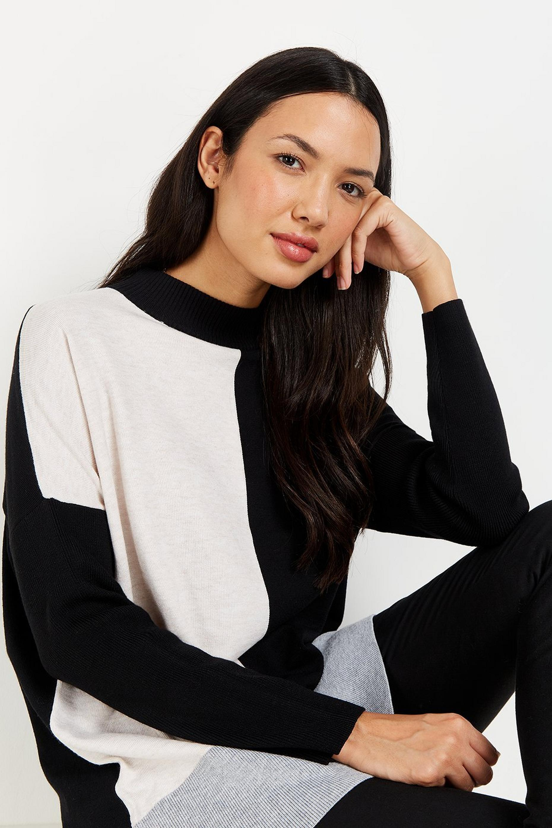 Black Colourblock High Neck Jumper