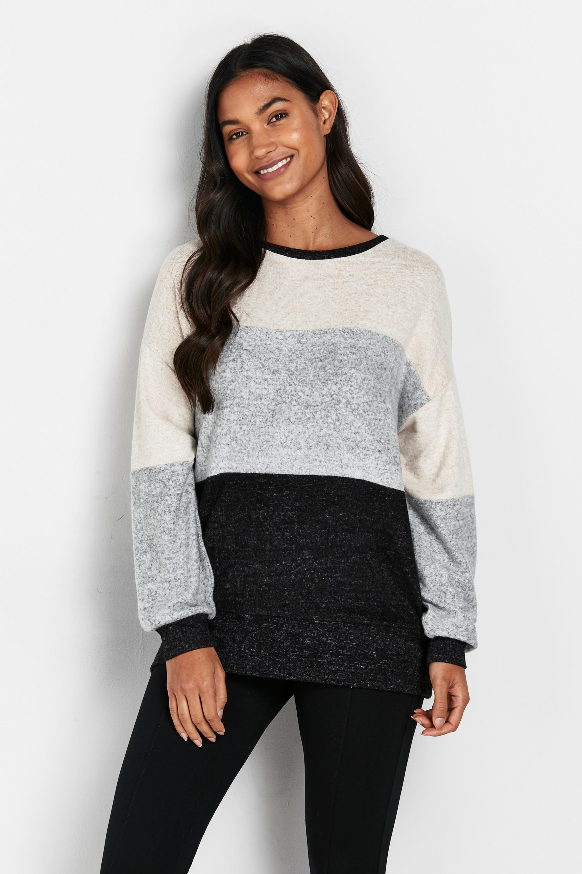 Grey Colourblock Soft Jumper