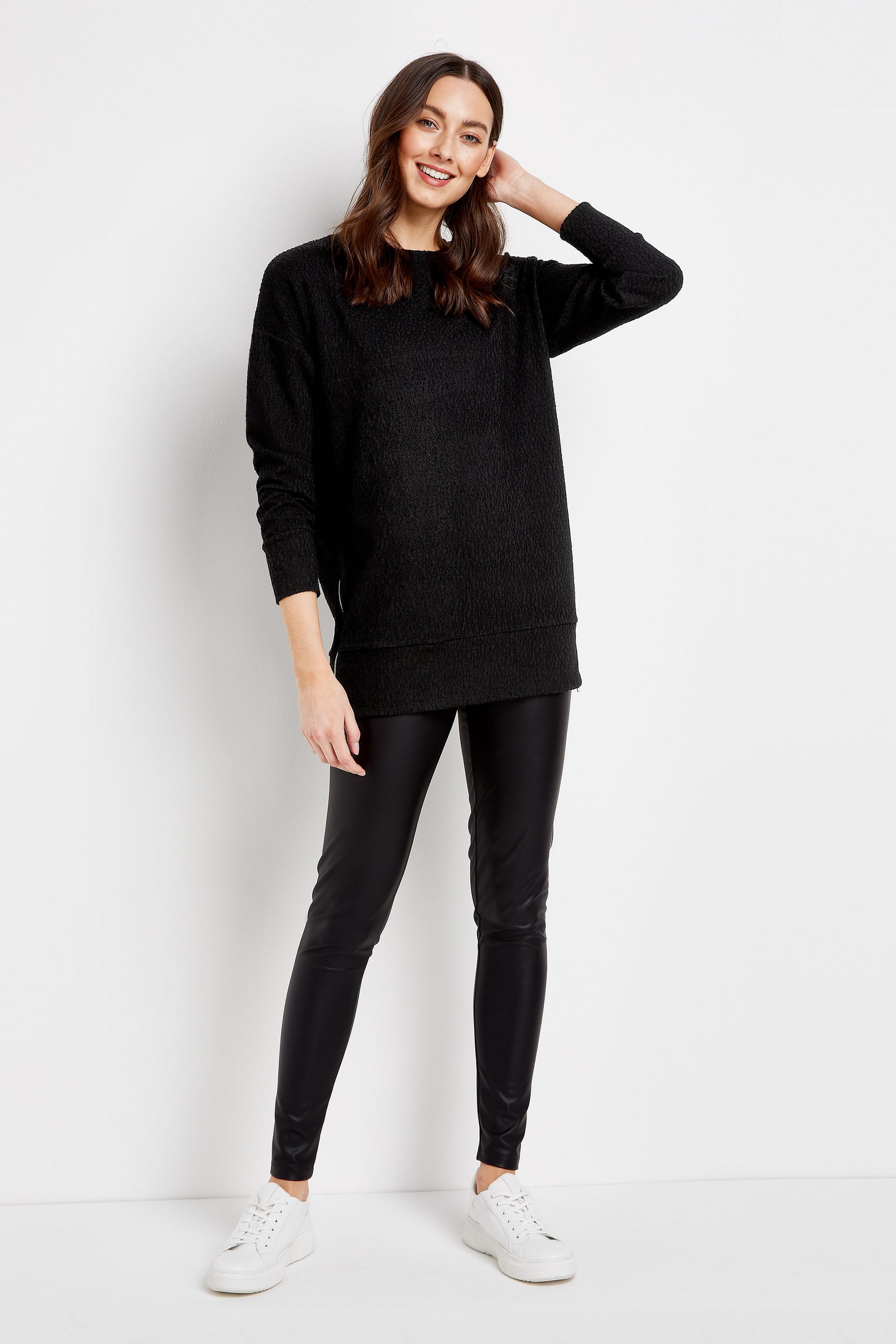 Black Side Zip Tunic Top