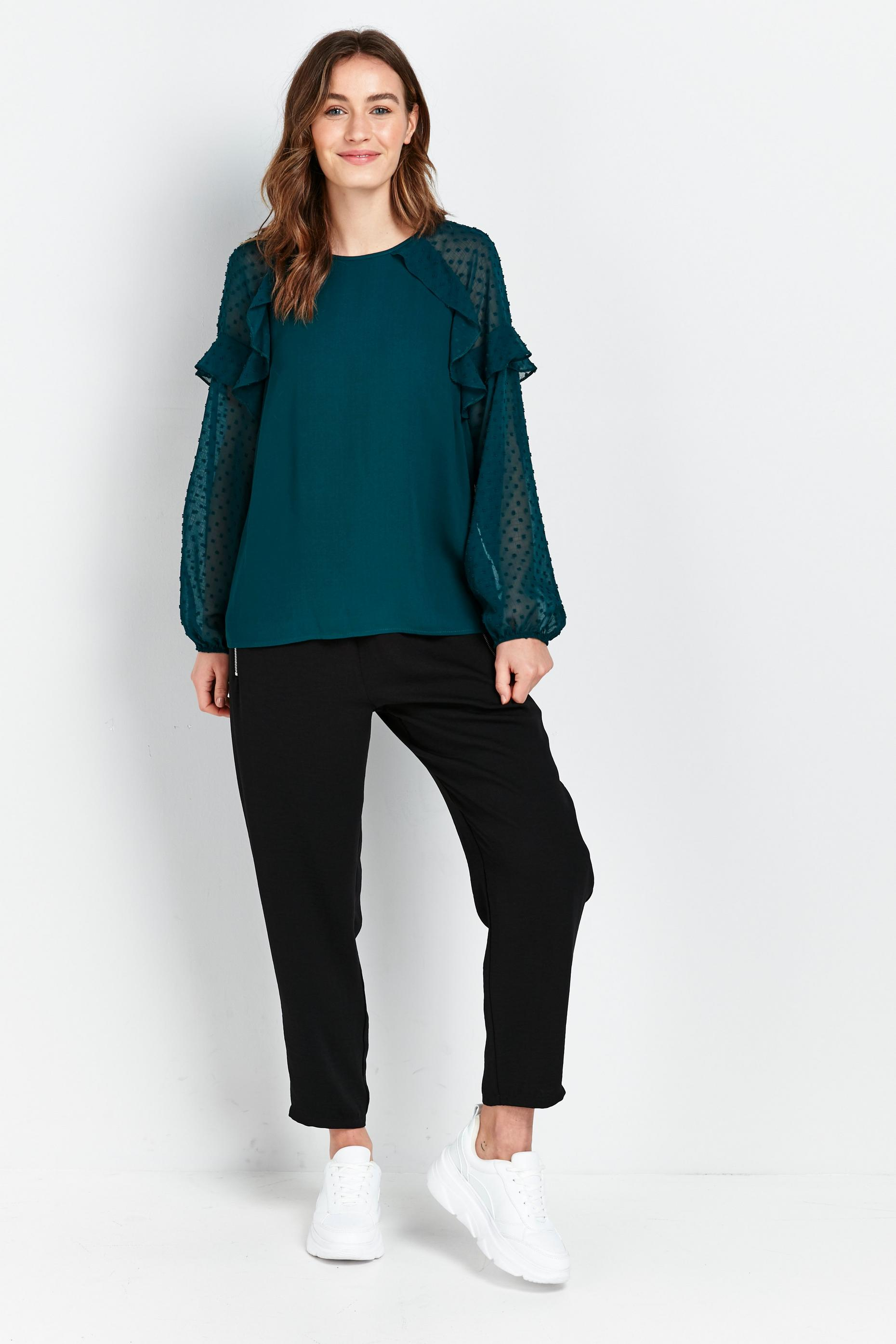 Green Dobby Print Frill Detail Top