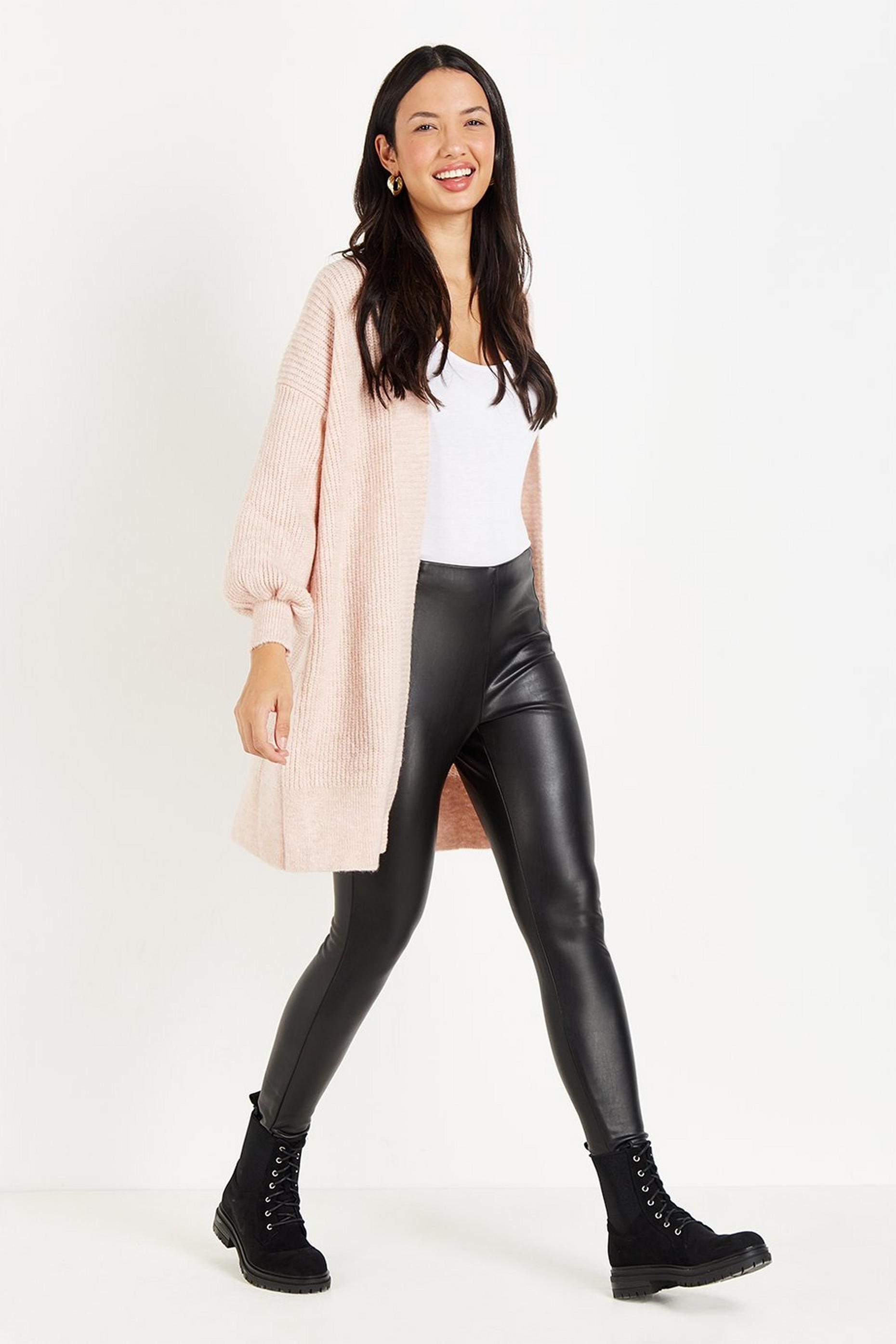 Blush Puff Sleeve Longline Cardigan