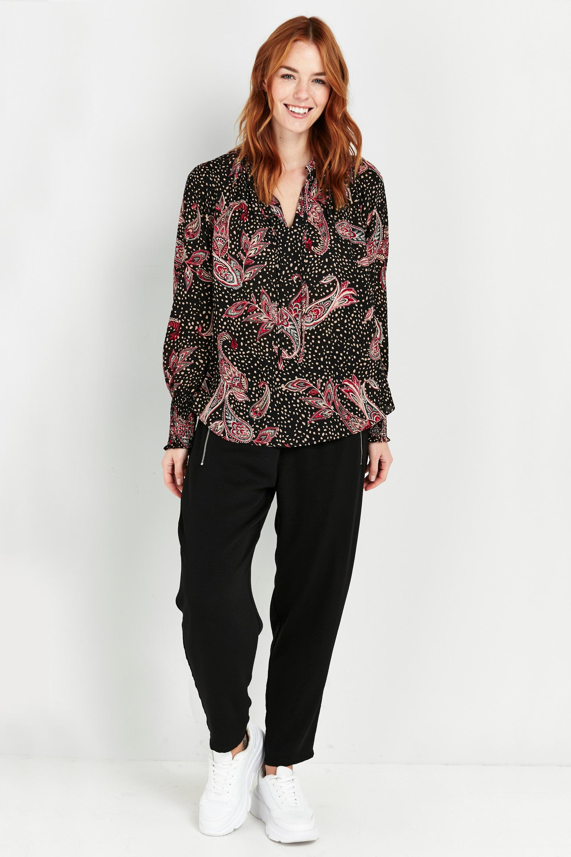 Black Paisley Spot Print Puff Sleeve Top