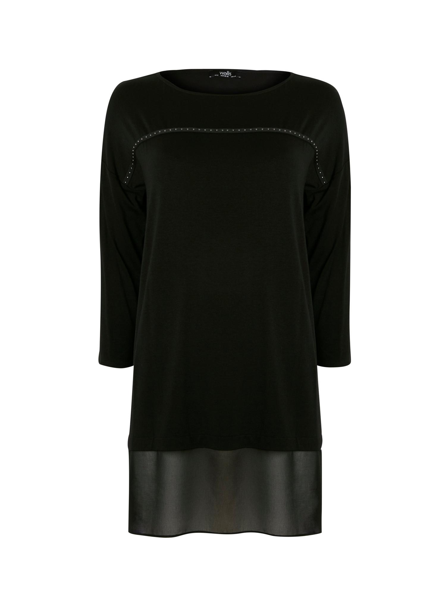 105 Black Studded Chiffon Hem Top image number 4