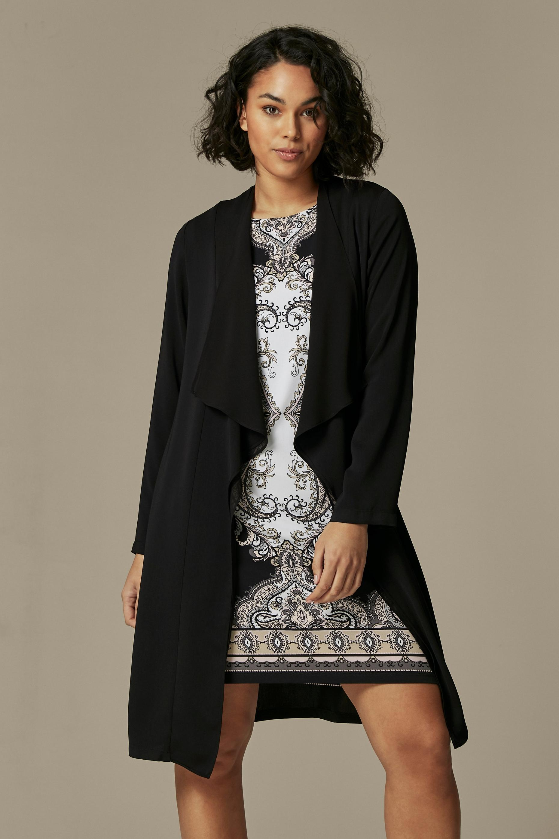 Black Waterfall Duster Jacket