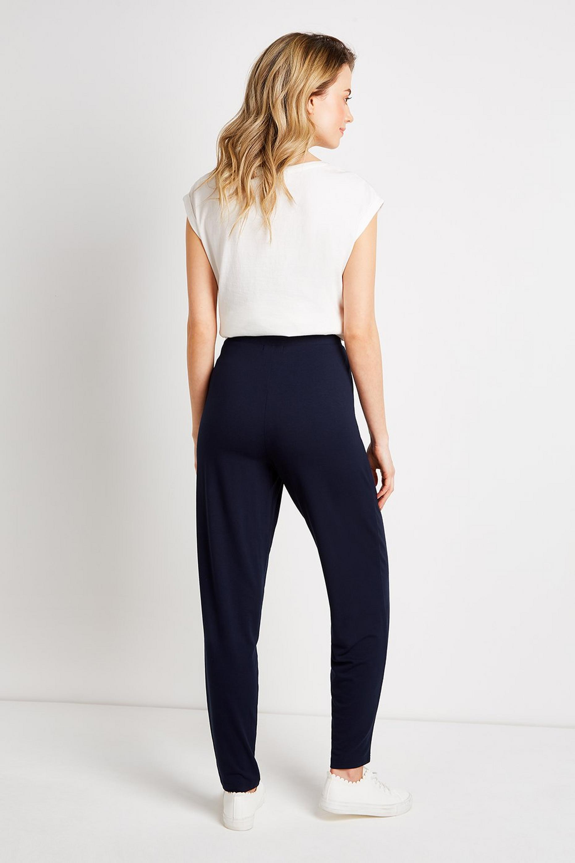 Navy Jersey Tapered Trousers