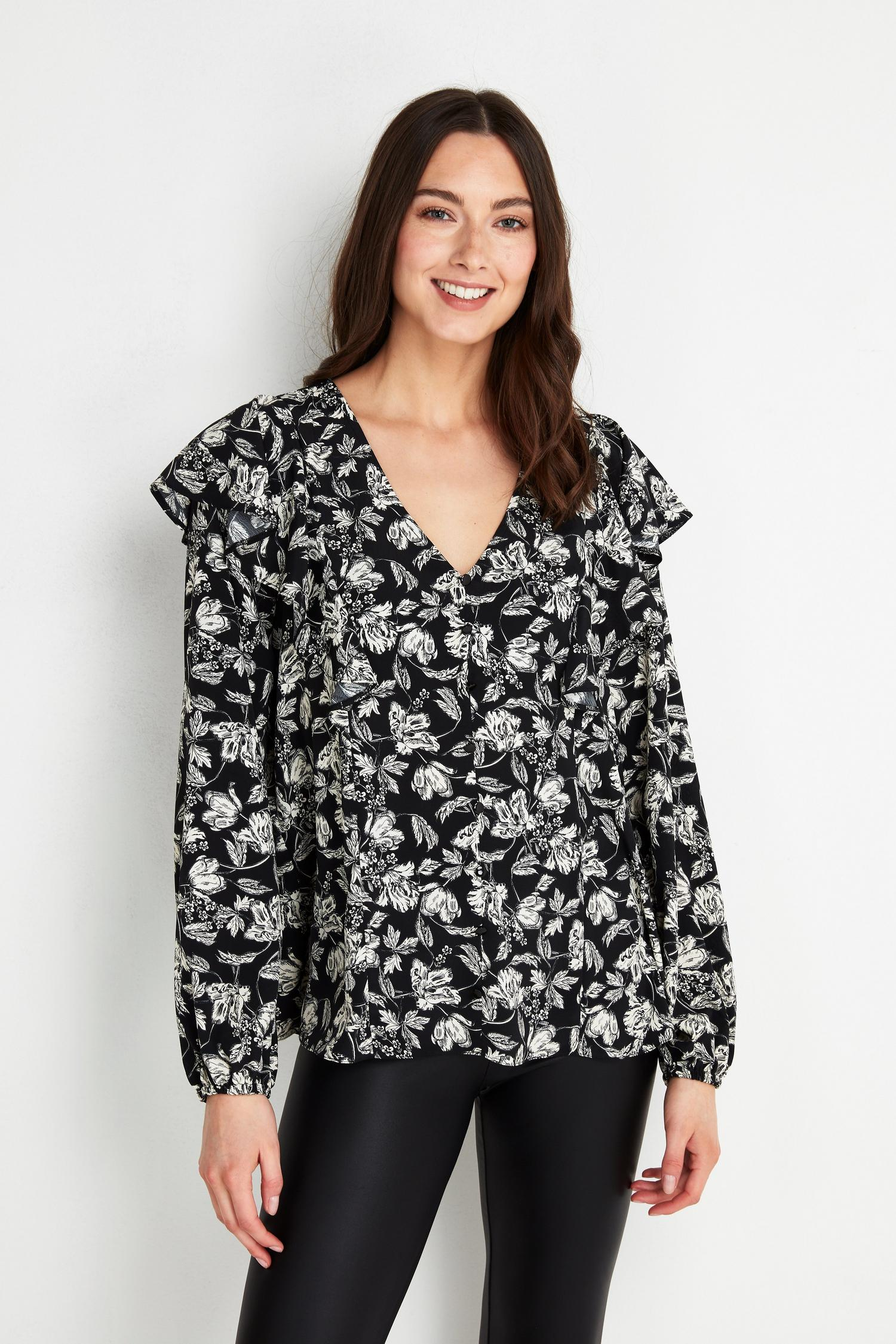585 Monochrome Floral Print Ruffle Top image number 1