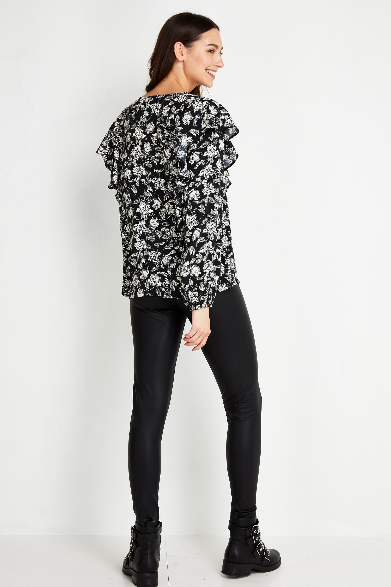 585 Monochrome Floral Print Ruffle Top image number 2