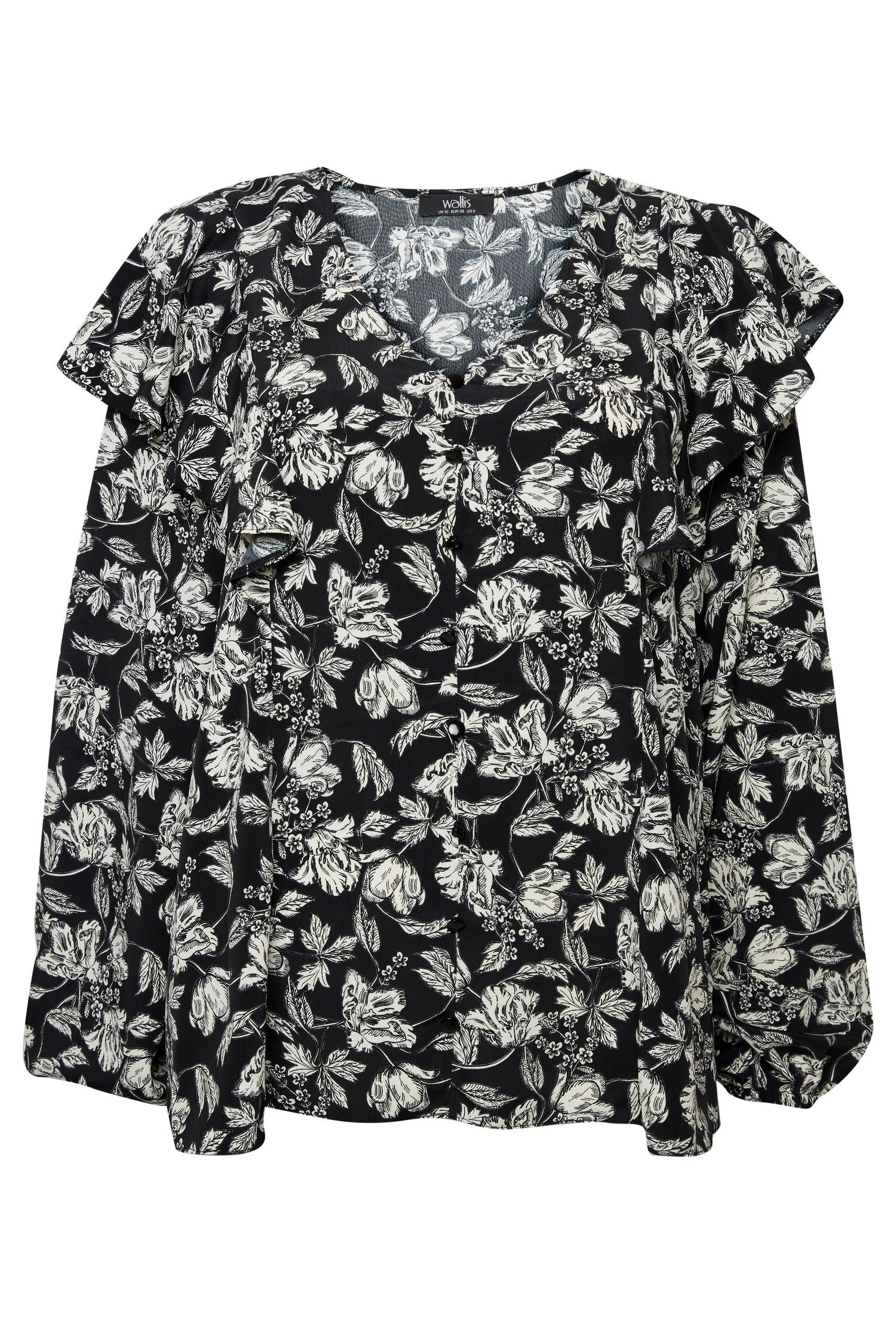 585 Monochrome Floral Print Ruffle Top image number 4