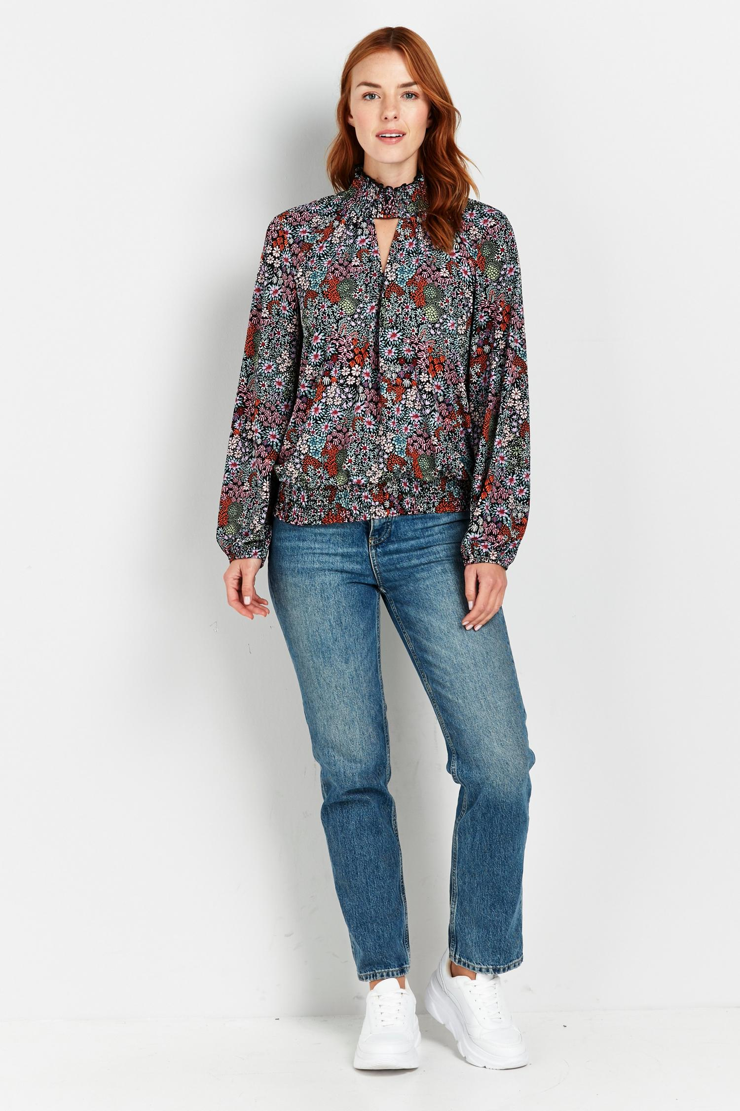 105 Black Floral Print High Neck Top image number 1