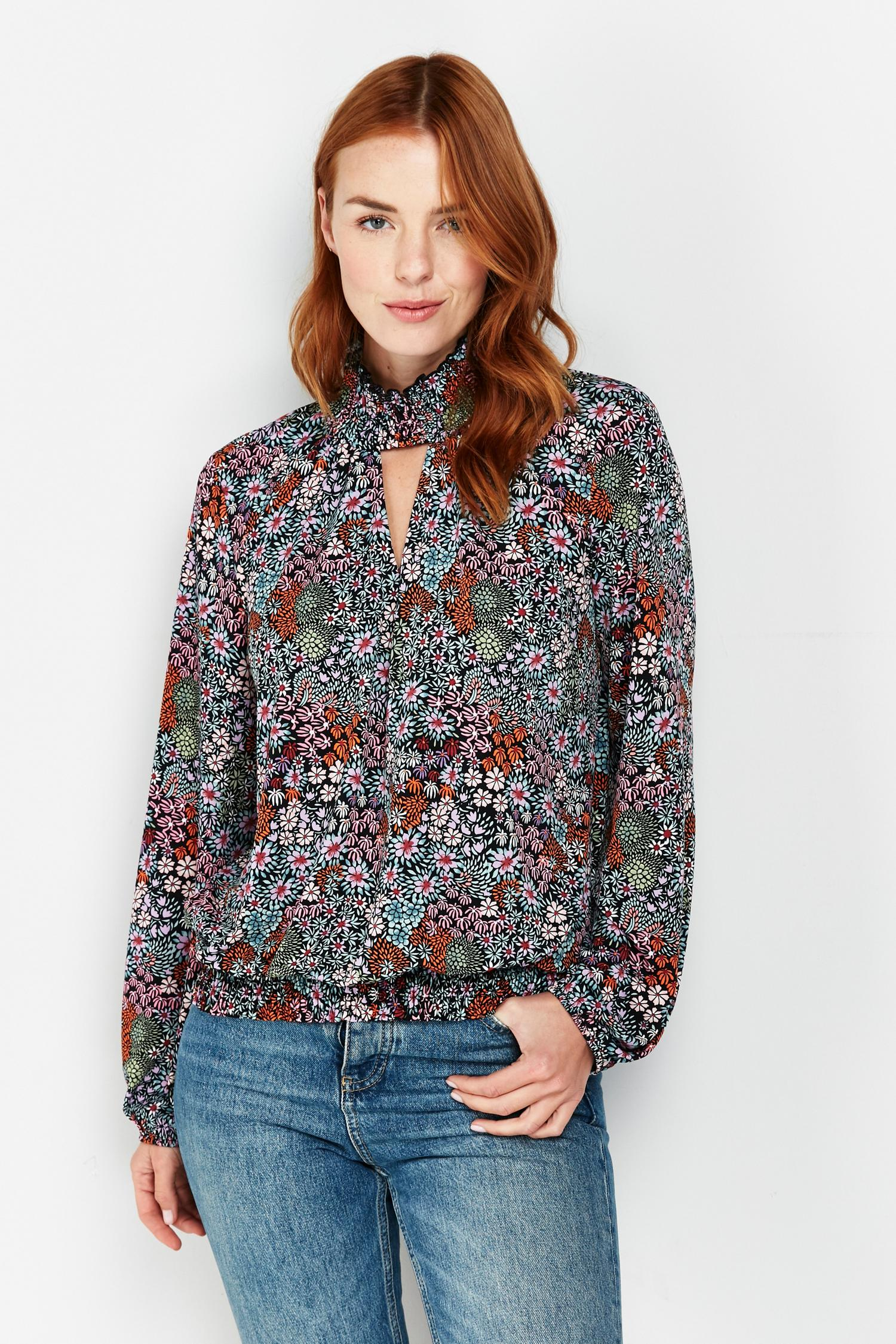 105 Black Floral Print High Neck Top image number 3